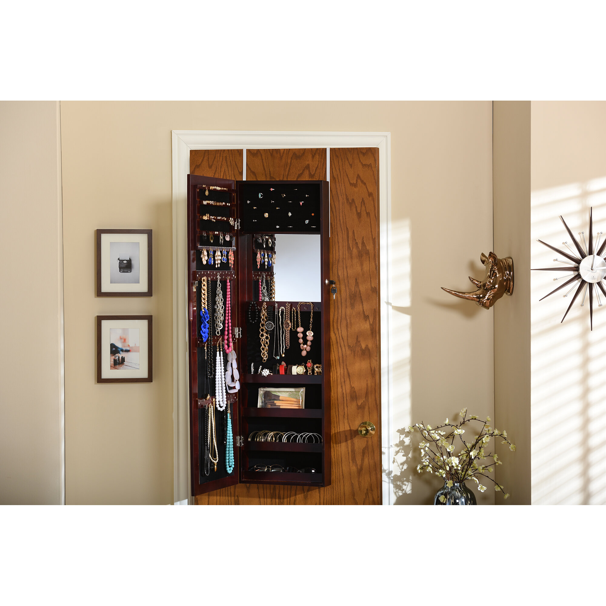 Baxton Studio Reflections Over The Door Jewelry Armoire