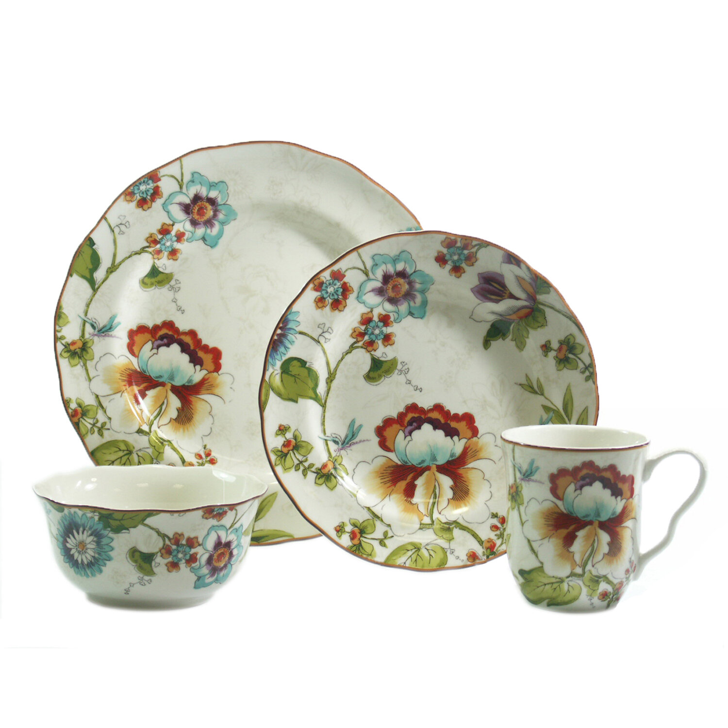 222 fifth bella vista 16 piece dinnerware set ebay