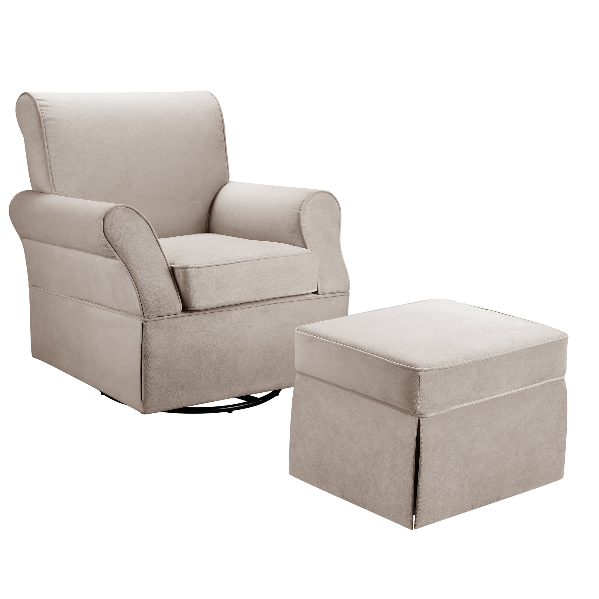 dorel living kelcie swivel glider chair ottoman set ebay. Black Bedroom Furniture Sets. Home Design Ideas