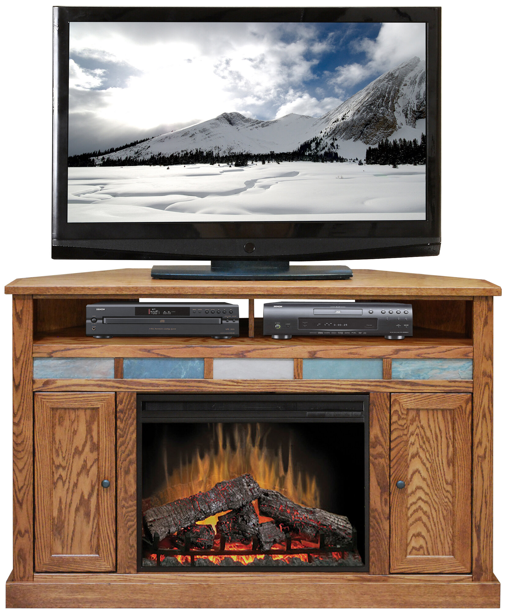 legends furniture oak creek tv stand with electric fireplace ebay. Black Bedroom Furniture Sets. Home Design Ideas