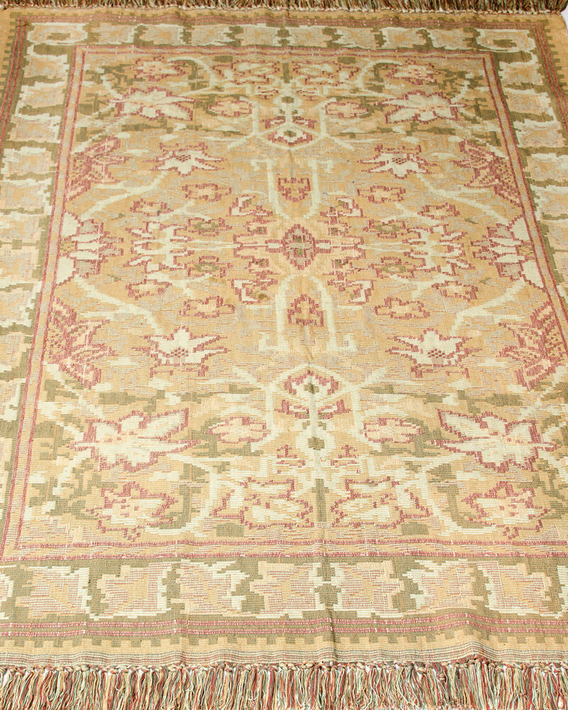 CLM Arts And Crafts Kilim Hand-Woven Celadon Area Rug