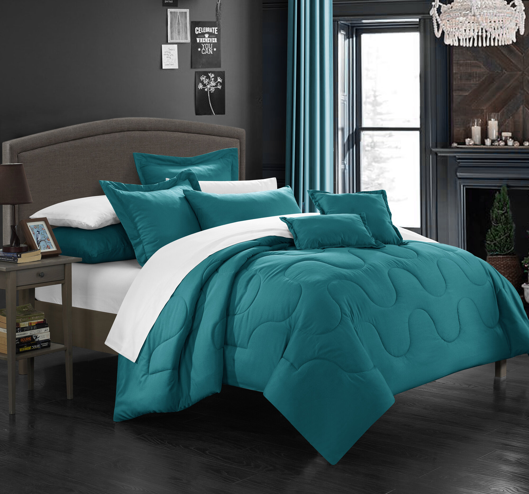 Chic Home Donna Comforter Set Size: King, Color: Teal