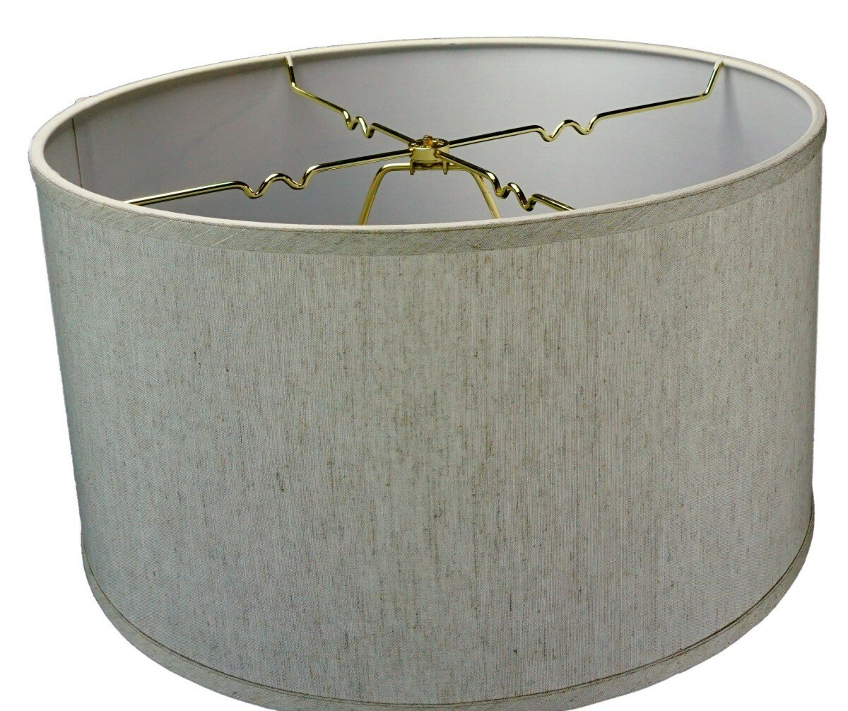 home concept inc shallow 18 linen drum lamp shade ebay. Black Bedroom Furniture Sets. Home Design Ideas