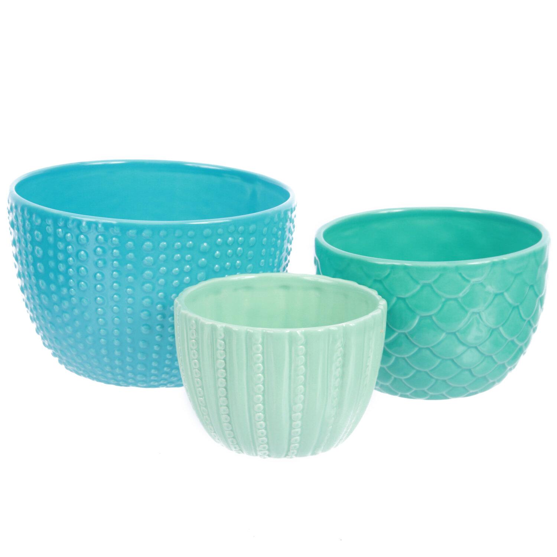 dei sea life 3 piece ceramic nested bowl set ebay. Black Bedroom Furniture Sets. Home Design Ideas