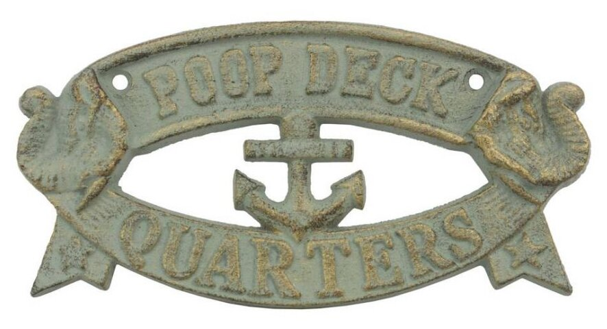 Handcrafted nautical decor cast iron poop deck quarters for Decor quarters