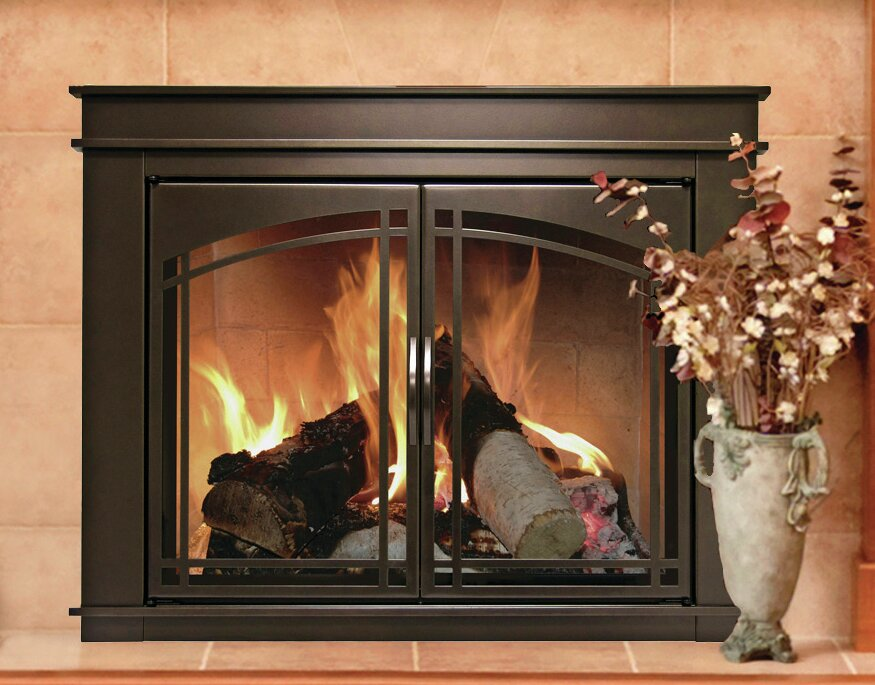 fireplace screens with doors fenwick cabinet style fireplace screen and arch prairie 29504