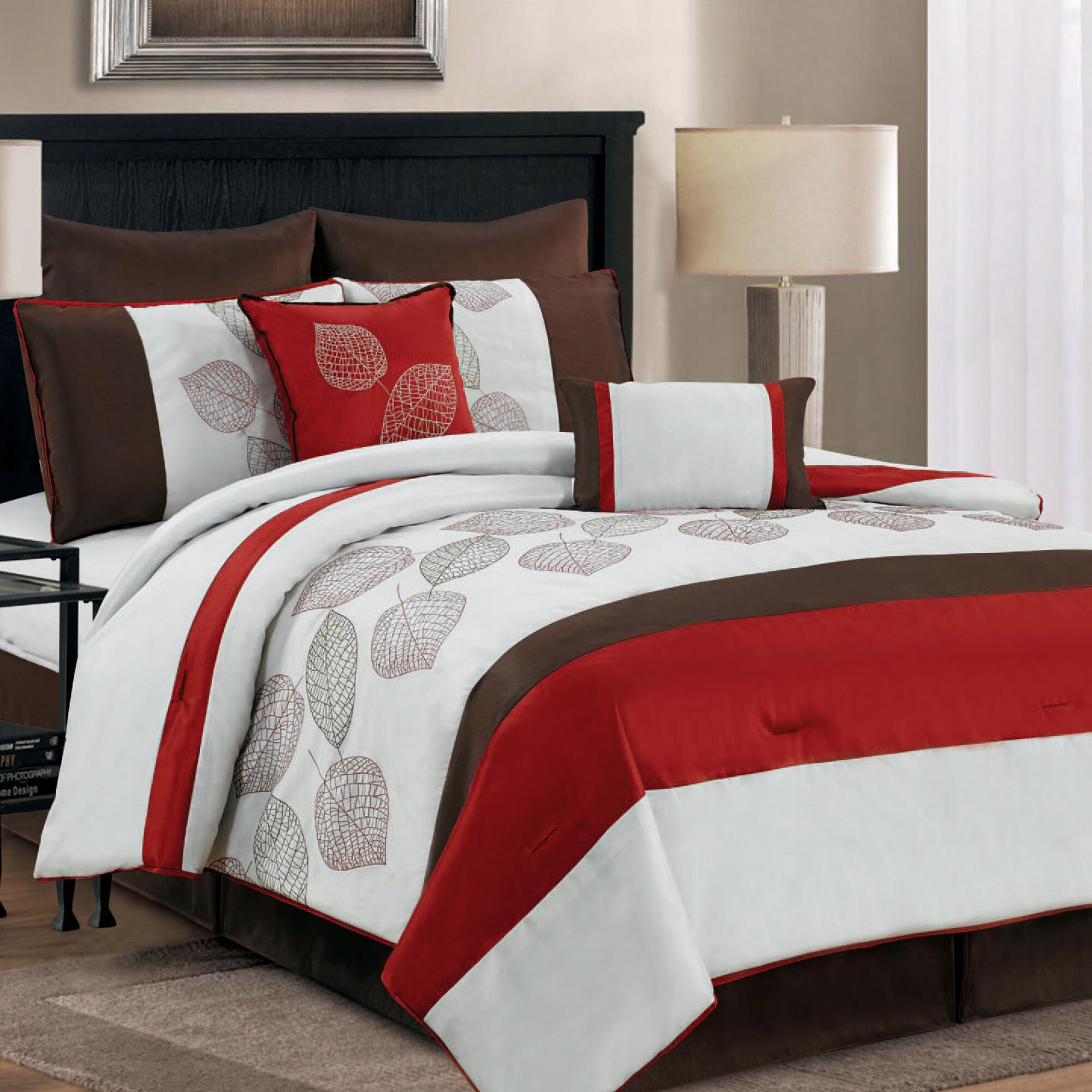 CHD HOME TEXTILE LLC Terrytown 8 Piece Comforter Set Size: Queen, Color: Red
