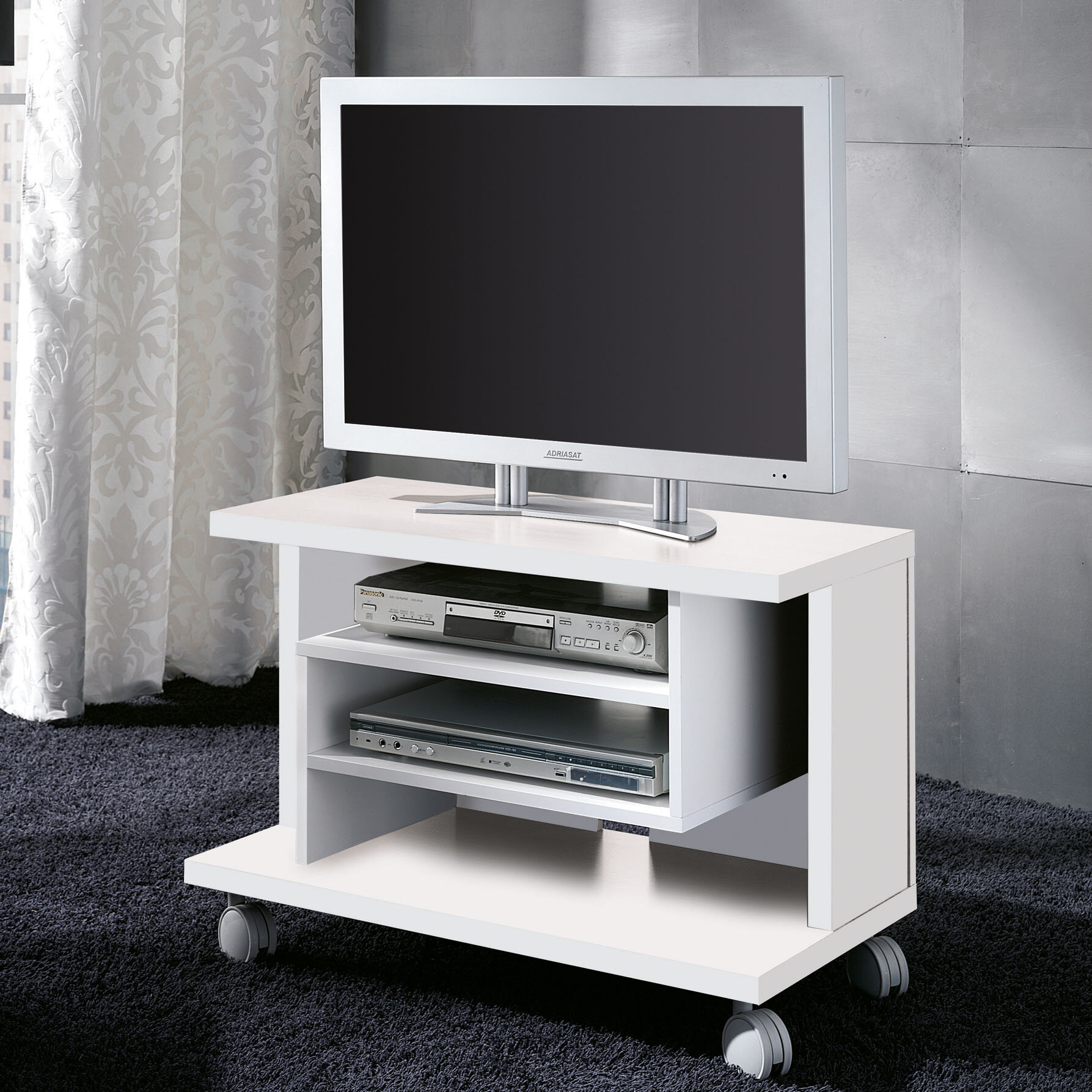 pelayomobles tv tisch mit rollen ebay. Black Bedroom Furniture Sets. Home Design Ideas
