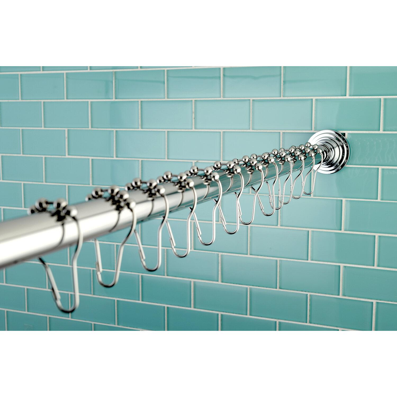 Kingston Brass Edenscape 72 Adjustable Straight Shower Curtain Rod Hook Set Ebay