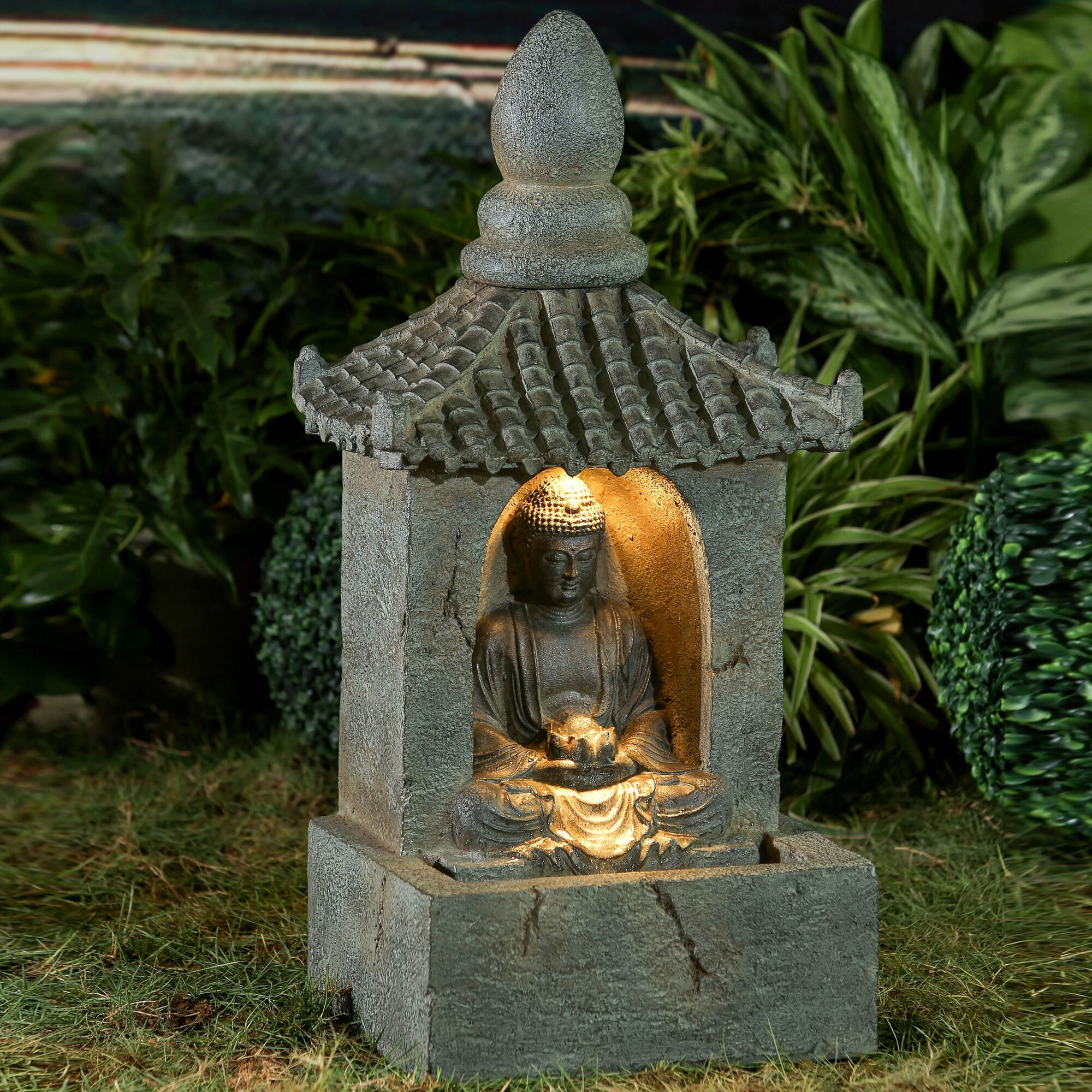 Buddha Fountains: Jeco Inc. Resin/Fiberglass Buddha Water Fountain With LED
