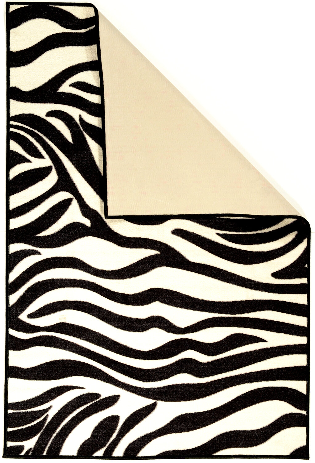 Ottomanson Pink White Black Animal Print Zebra Area Rug