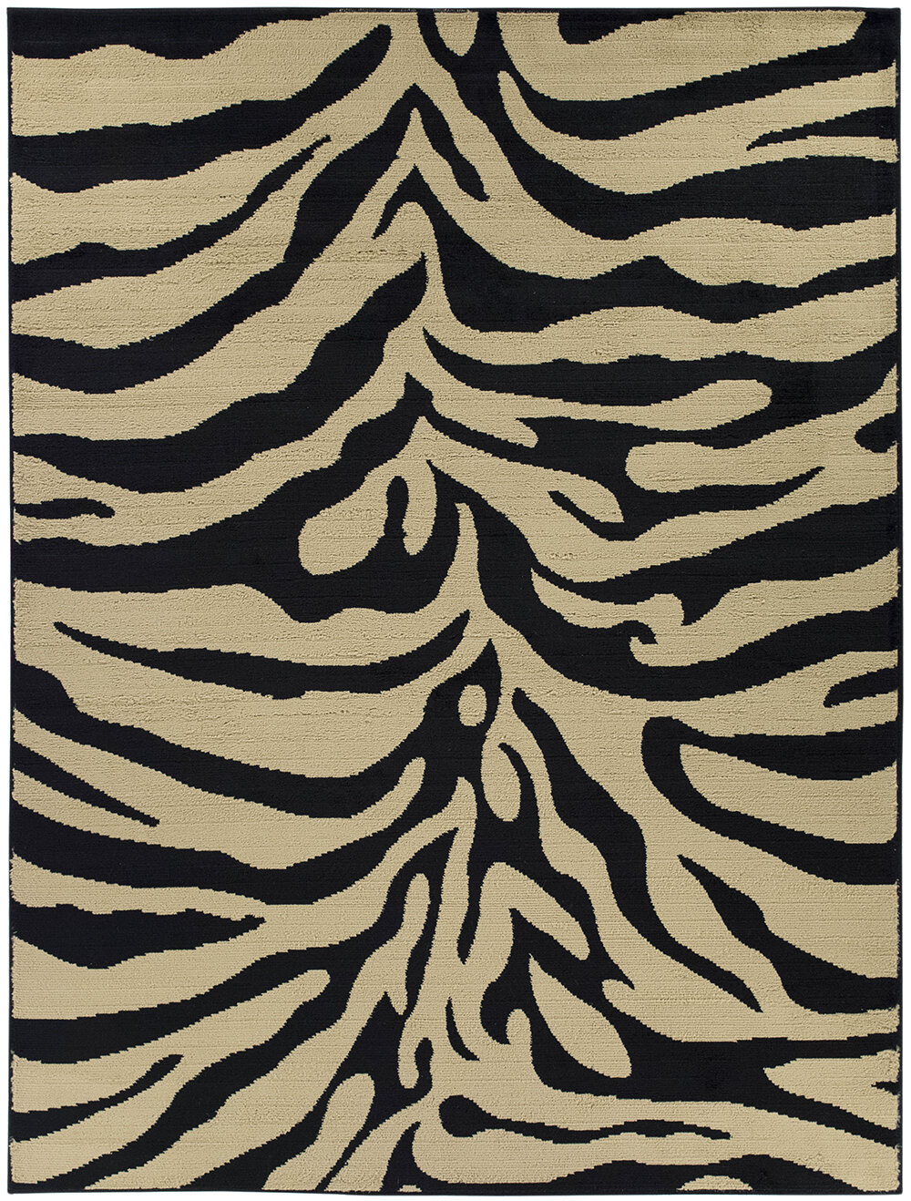 ottomanson royal black tan animal print zebra area rug. Black Bedroom Furniture Sets. Home Design Ideas