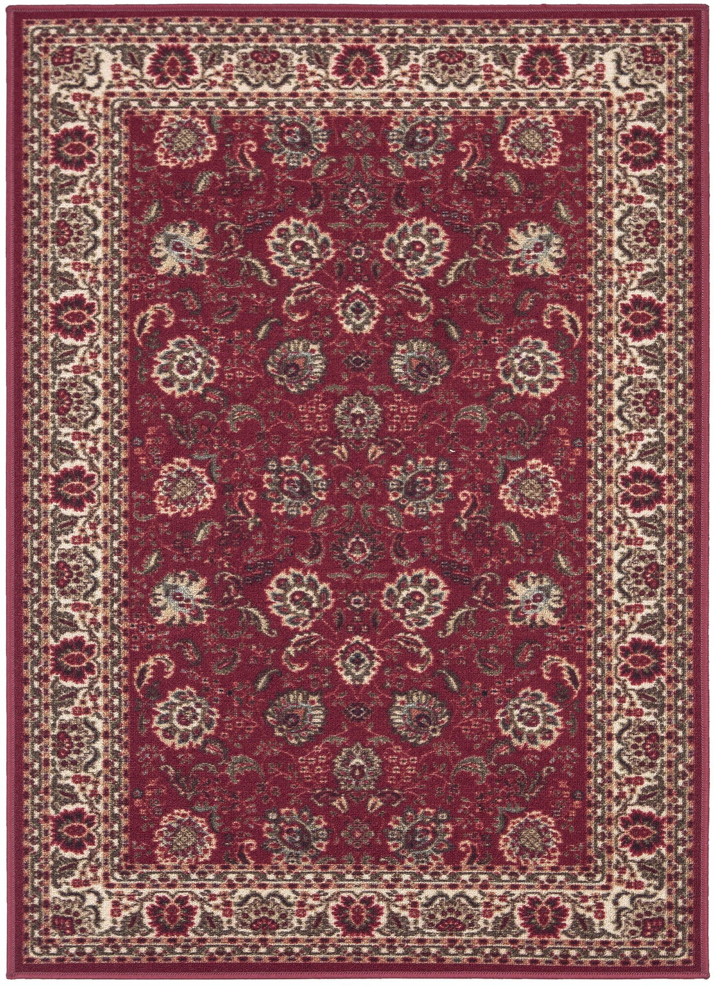 Ottomanson ottohome dark red floral area rug ebay for Red floral area rug