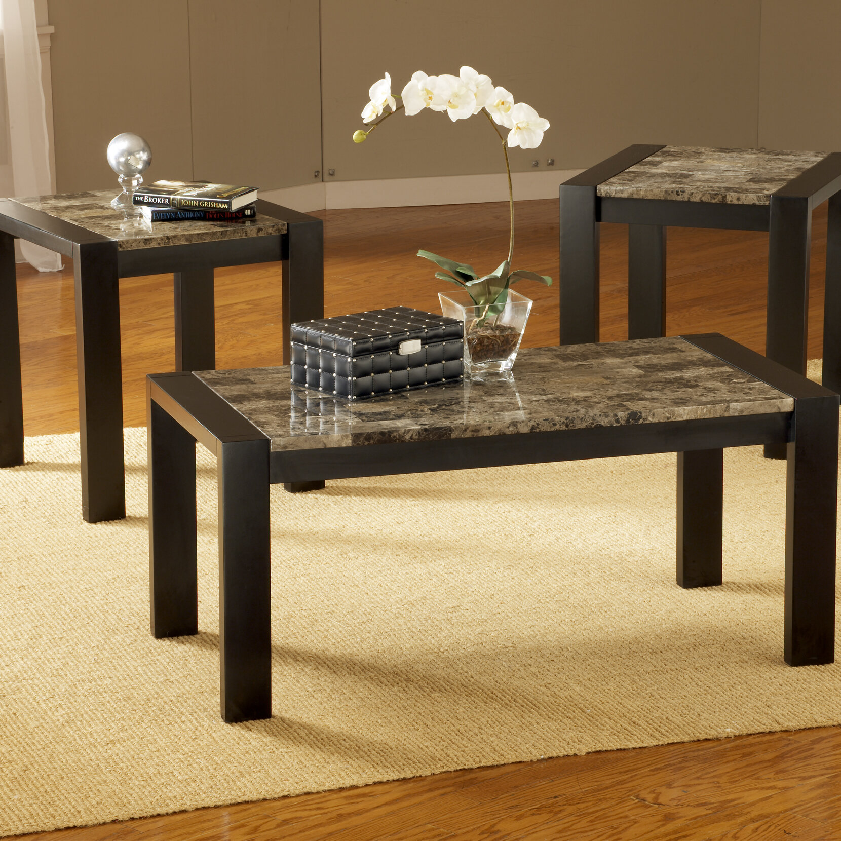 Bernards Faux Marble 3 Piece Coffee Table Set Ebay