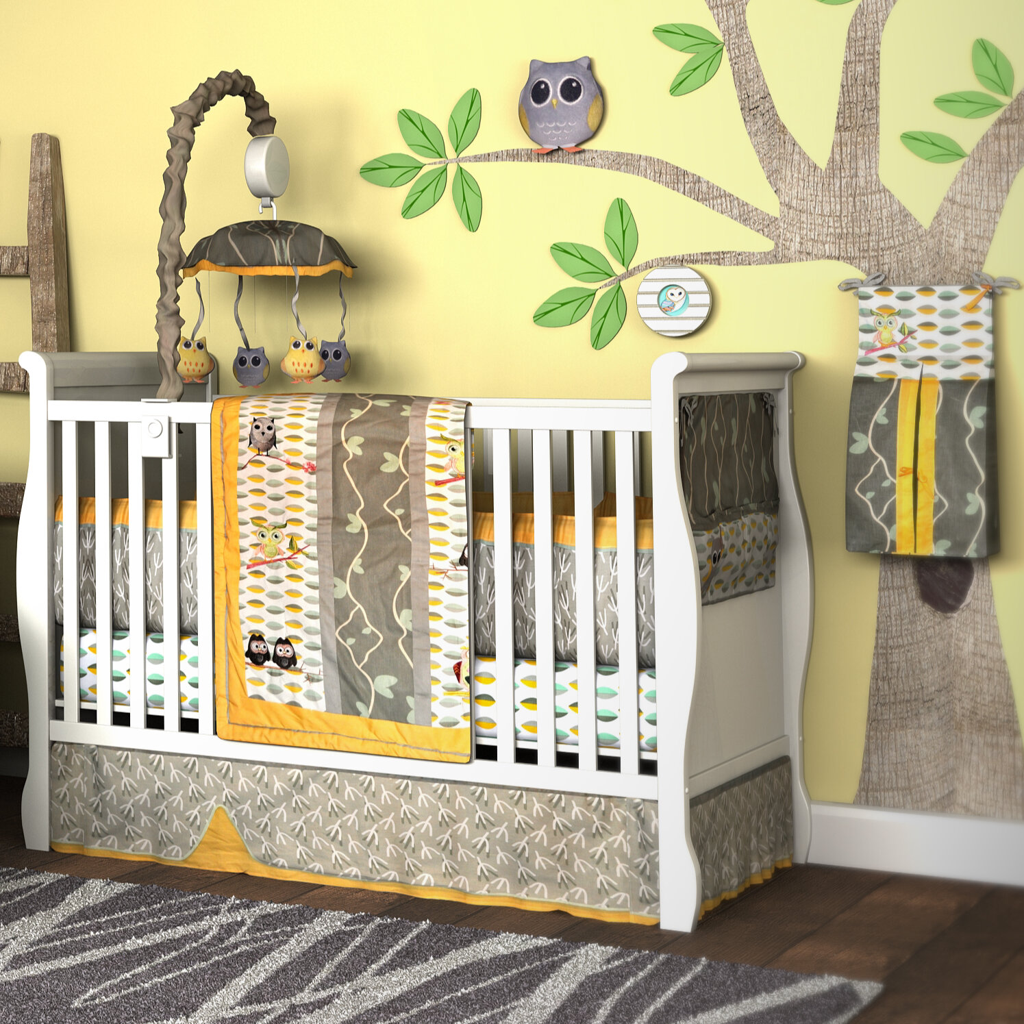 Leigh gender neutral 10pc owl baby crib bedding set grey yellow green - About Dk Leigh My Baby Hoo Owl 10 Piece Boutique Crib Bedding Set