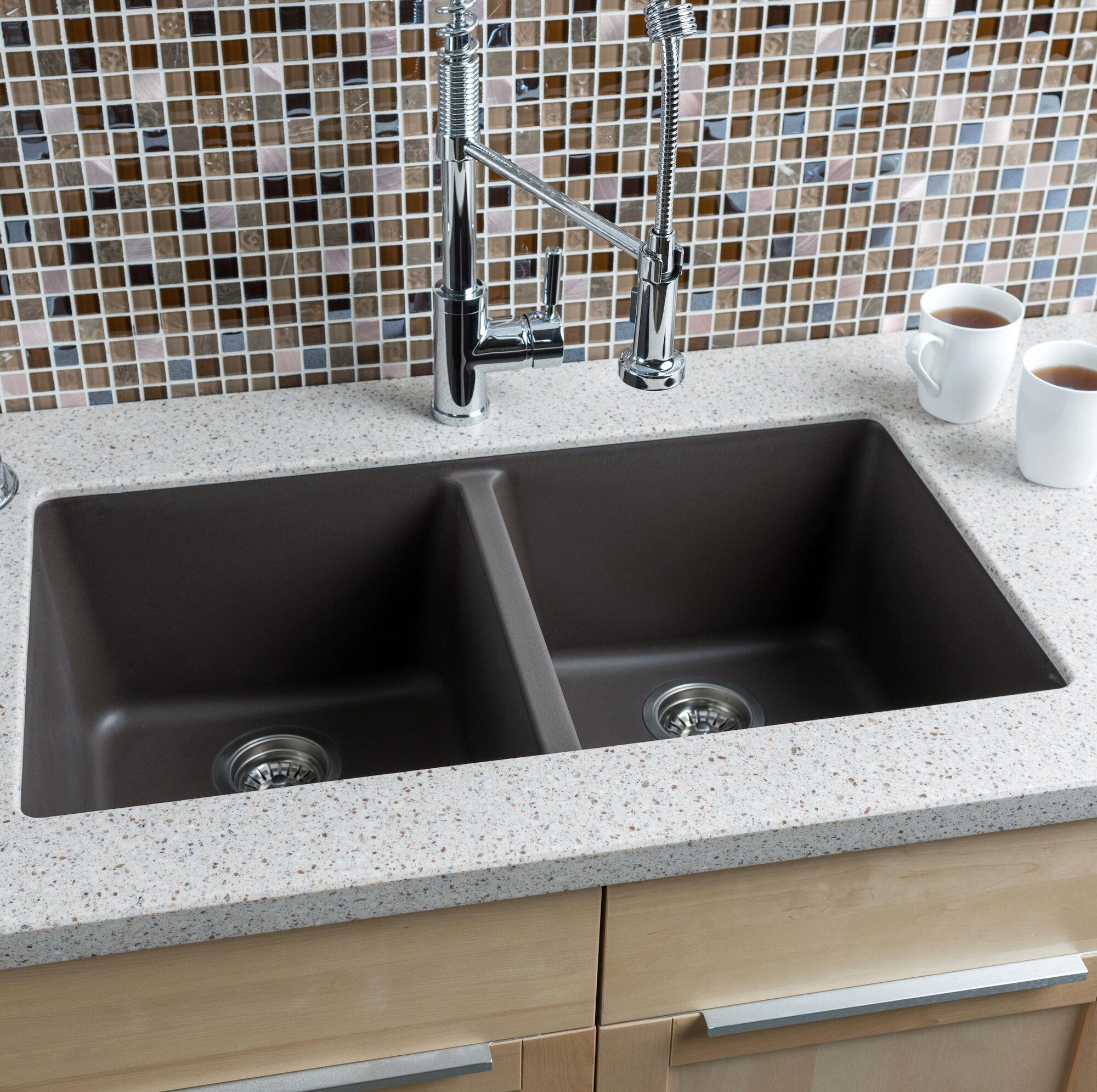 "Large Sink Kitchen: Hahn 33"" X 18.5"" Granite Extra Large Double Bowl Kitchen"