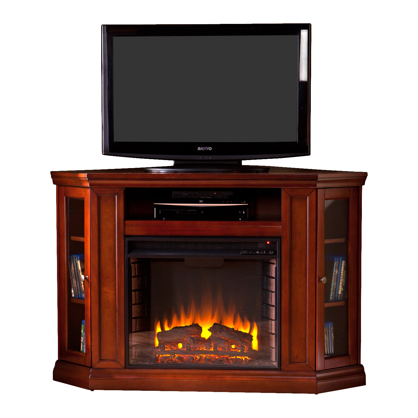 Woodbridge Home Designs 48 Tv Stand With Electric Fireplace Ebay