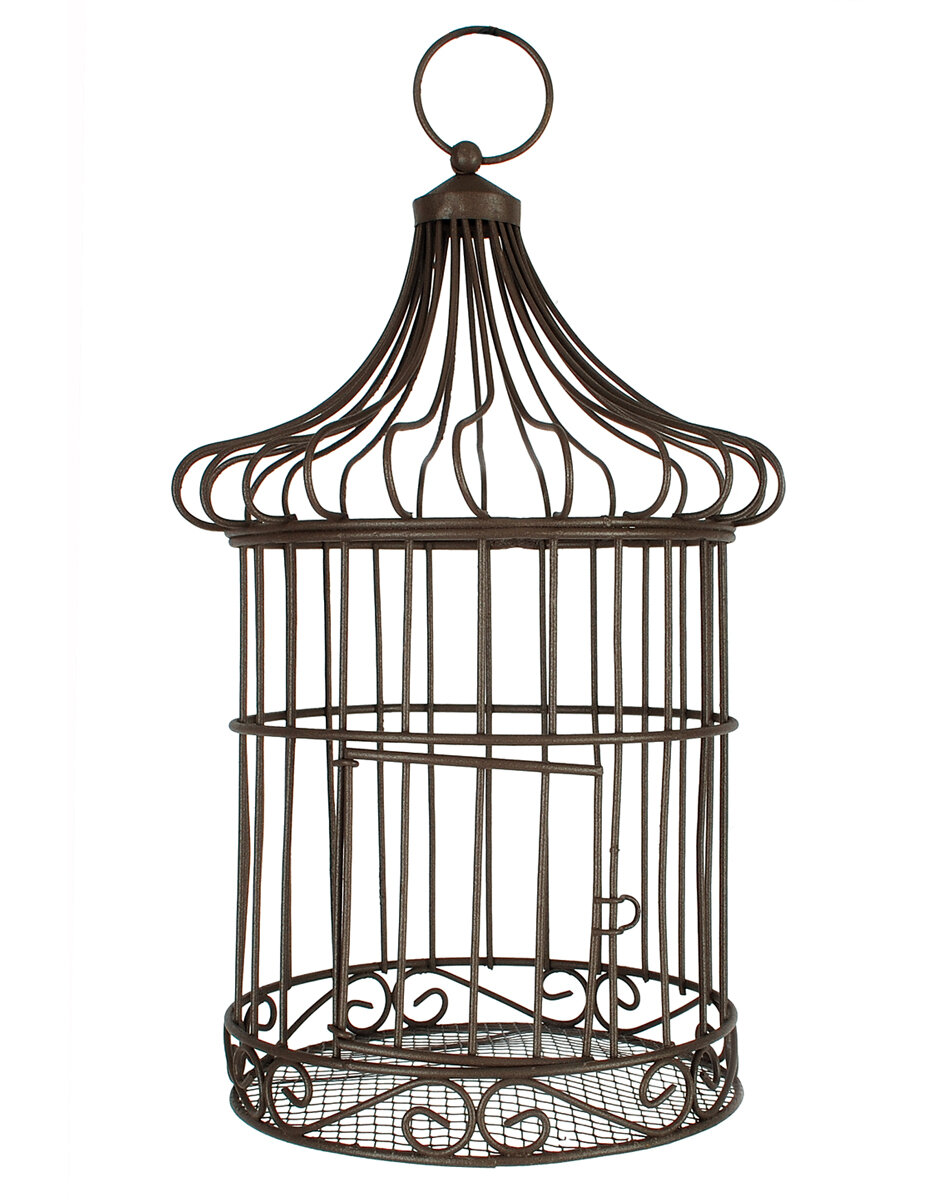 Blossom bucket small triangular top decorative bird cage for Petite cage a oiseaux decorative