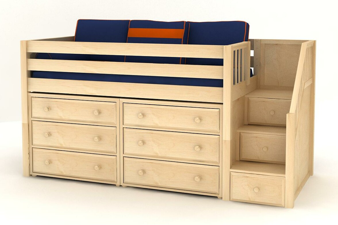 Maxtrix Kids Great3 Low Loft Staircase Panel Bed With 6