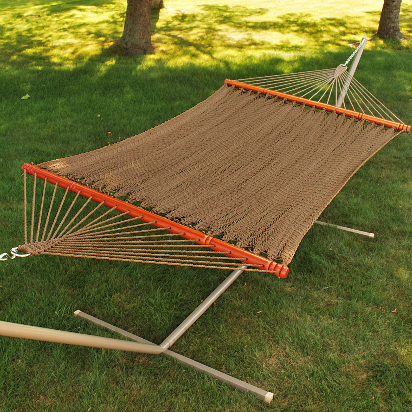 Algoma net company tight weave soft tan polyester rope for Rope hammock plans