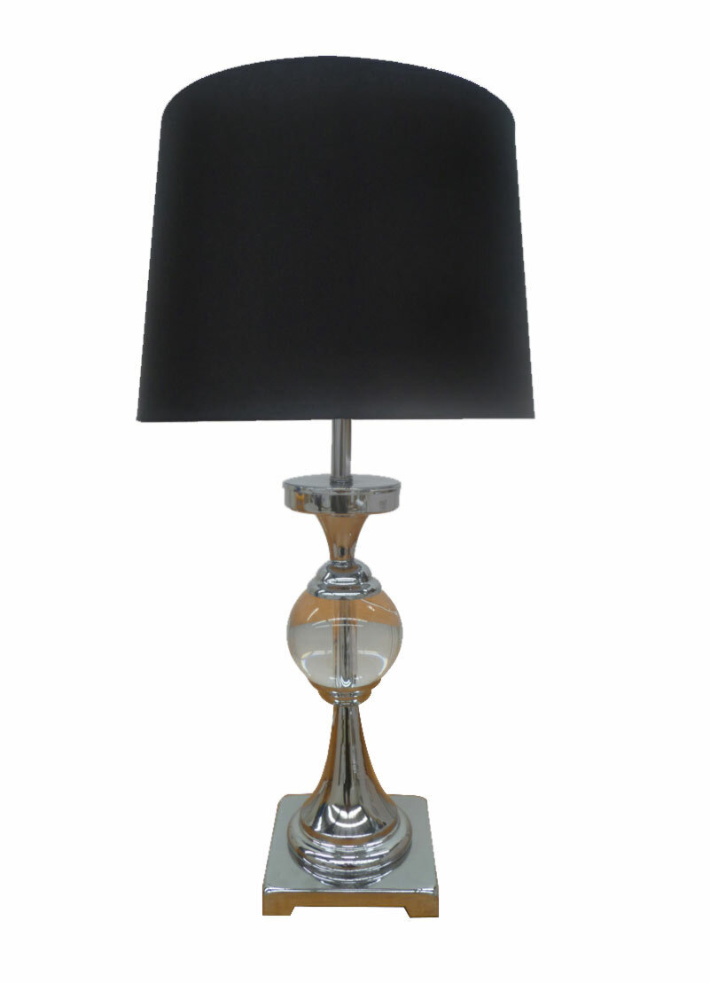 dv lighting crystal ball table lamp with black shade 2 at. Black Bedroom Furniture Sets. Home Design Ideas
