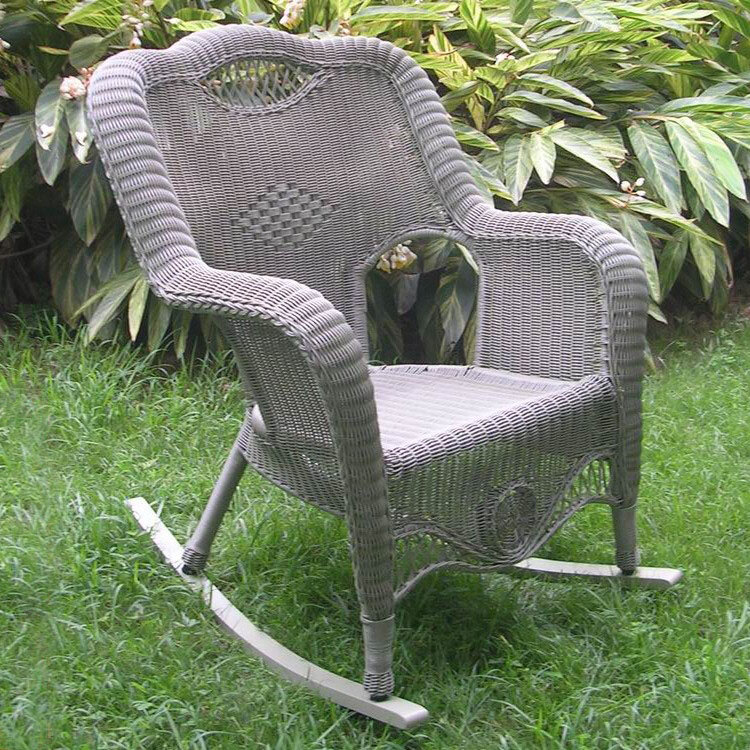 International Caravan Riviera Wicker Resin Aluminum Large Patio Rocking Chair
