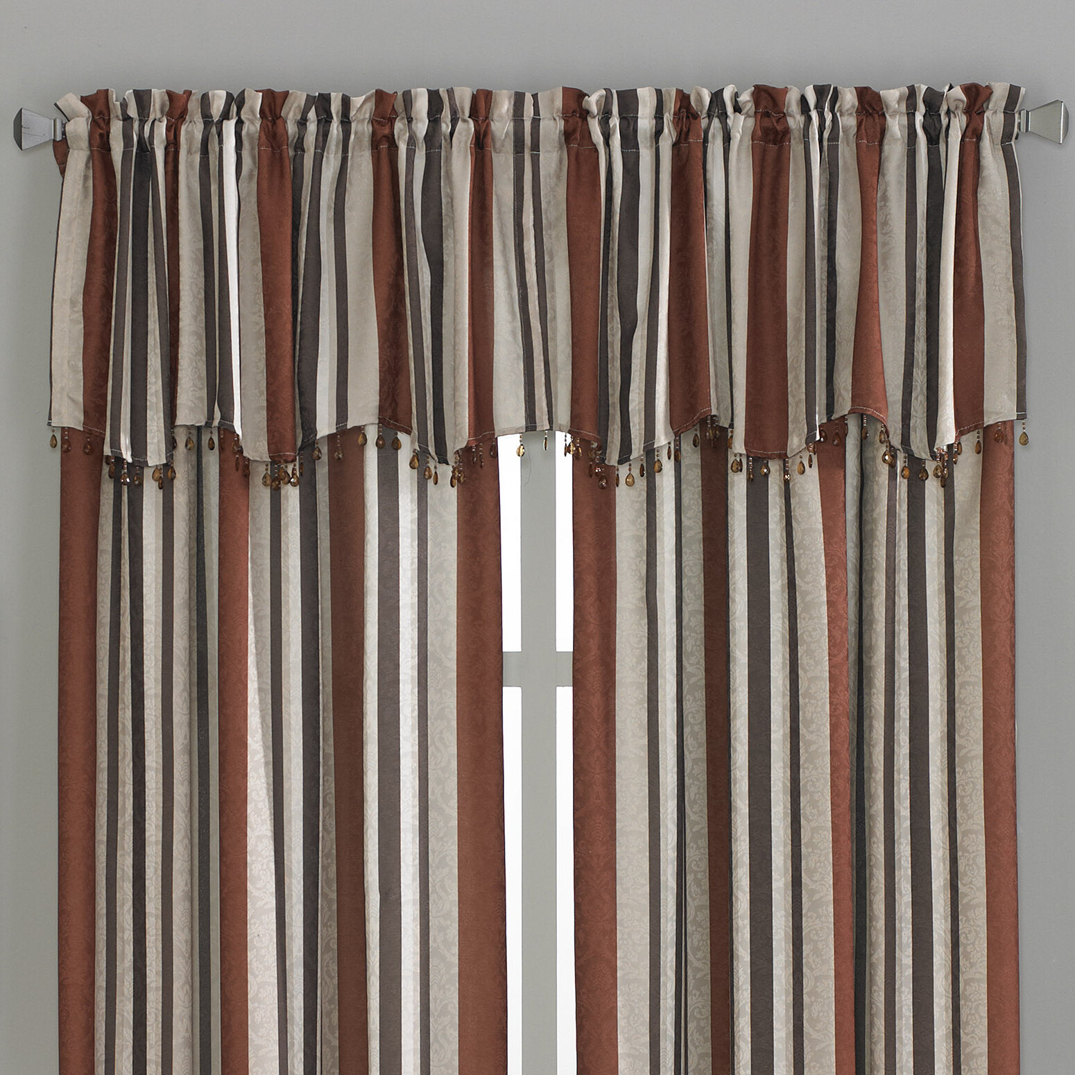 Montego Stripe Lined Scalloped Valance: CHF Mercury Stripe Scallop Curtain Valance