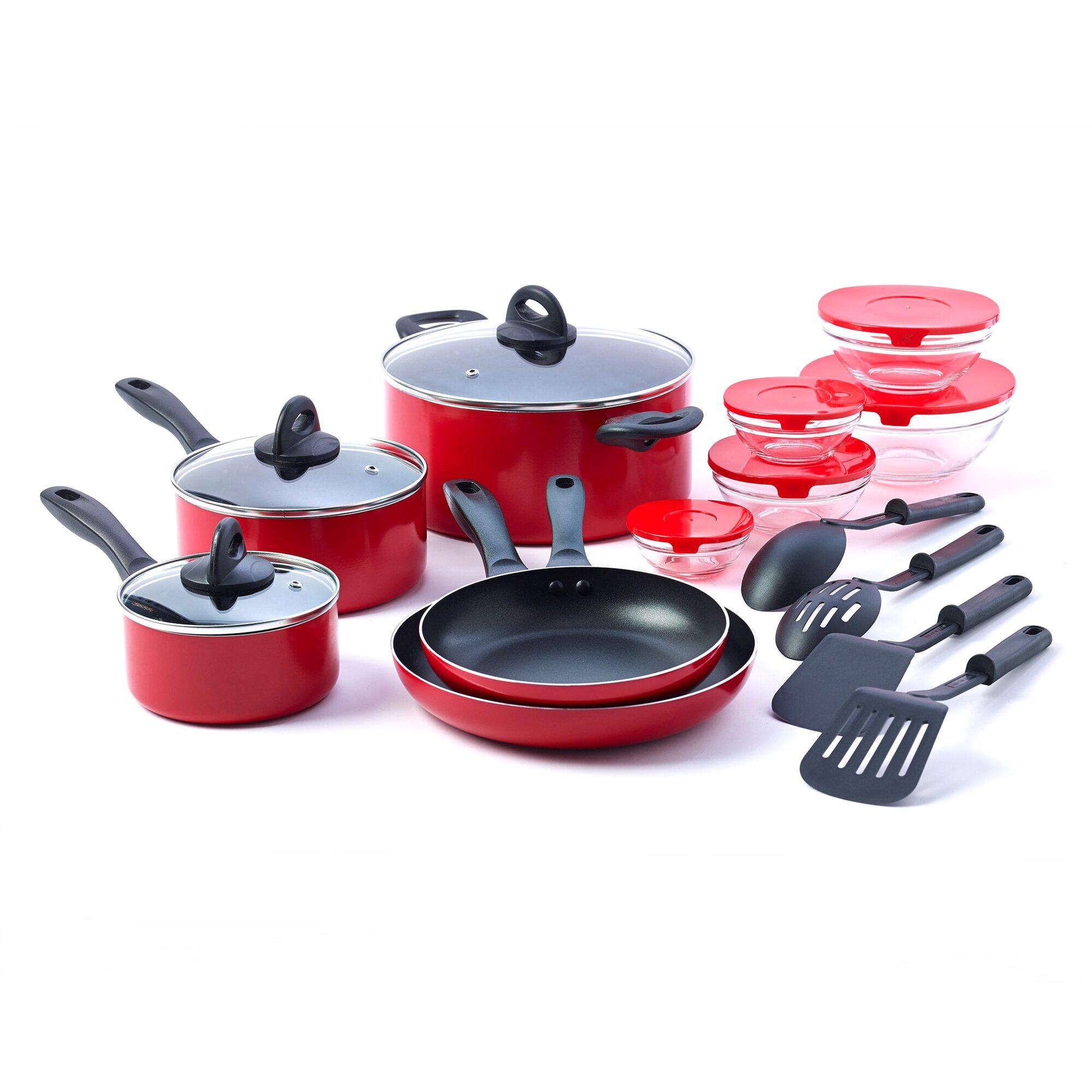 Basic essentials 17 piece non stick kitchen starter for Kitchen set non stick