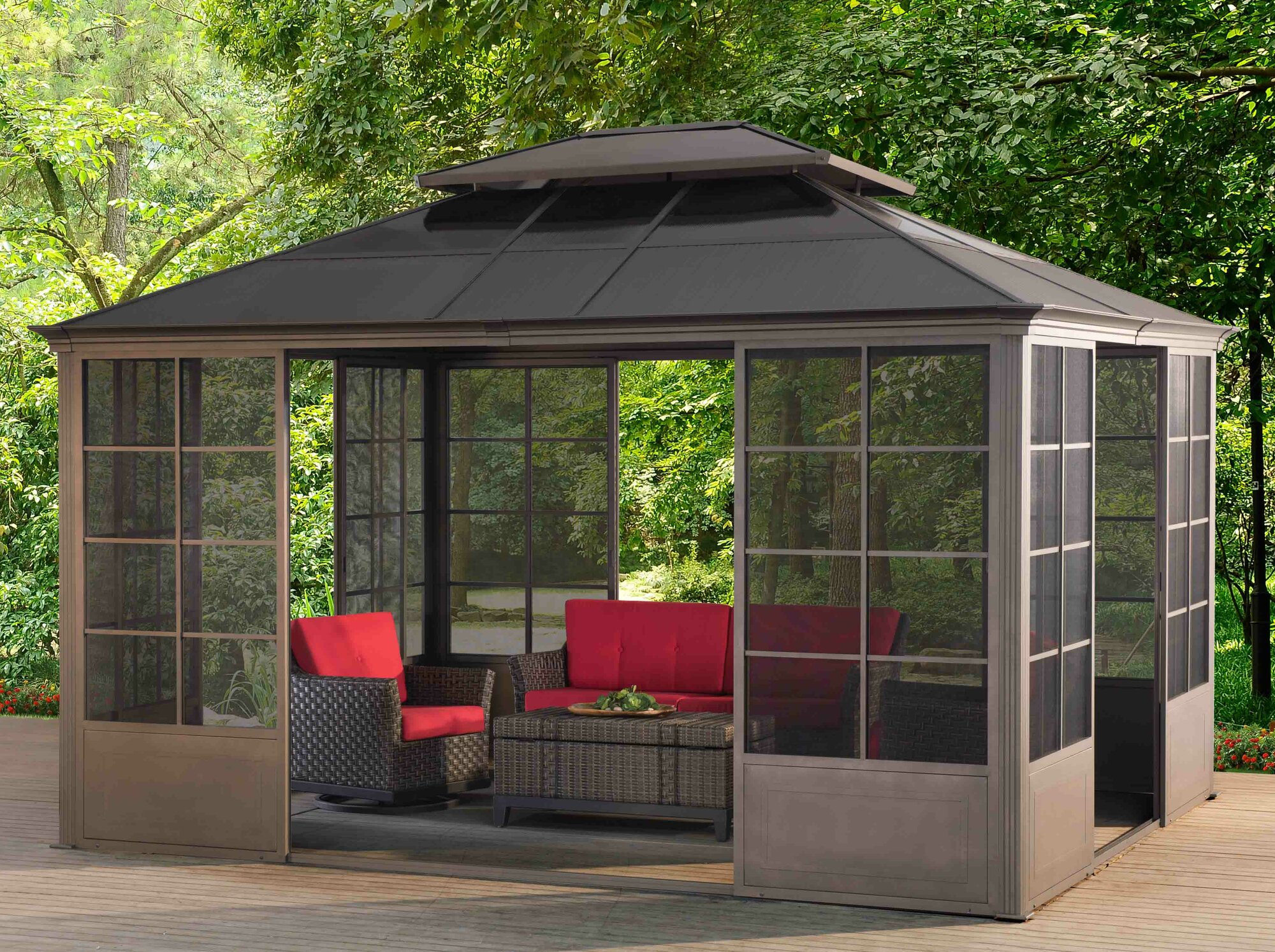 sunjoy 9 ft w x 14 ft d metal permanent gazebo ebay. Black Bedroom Furniture Sets. Home Design Ideas