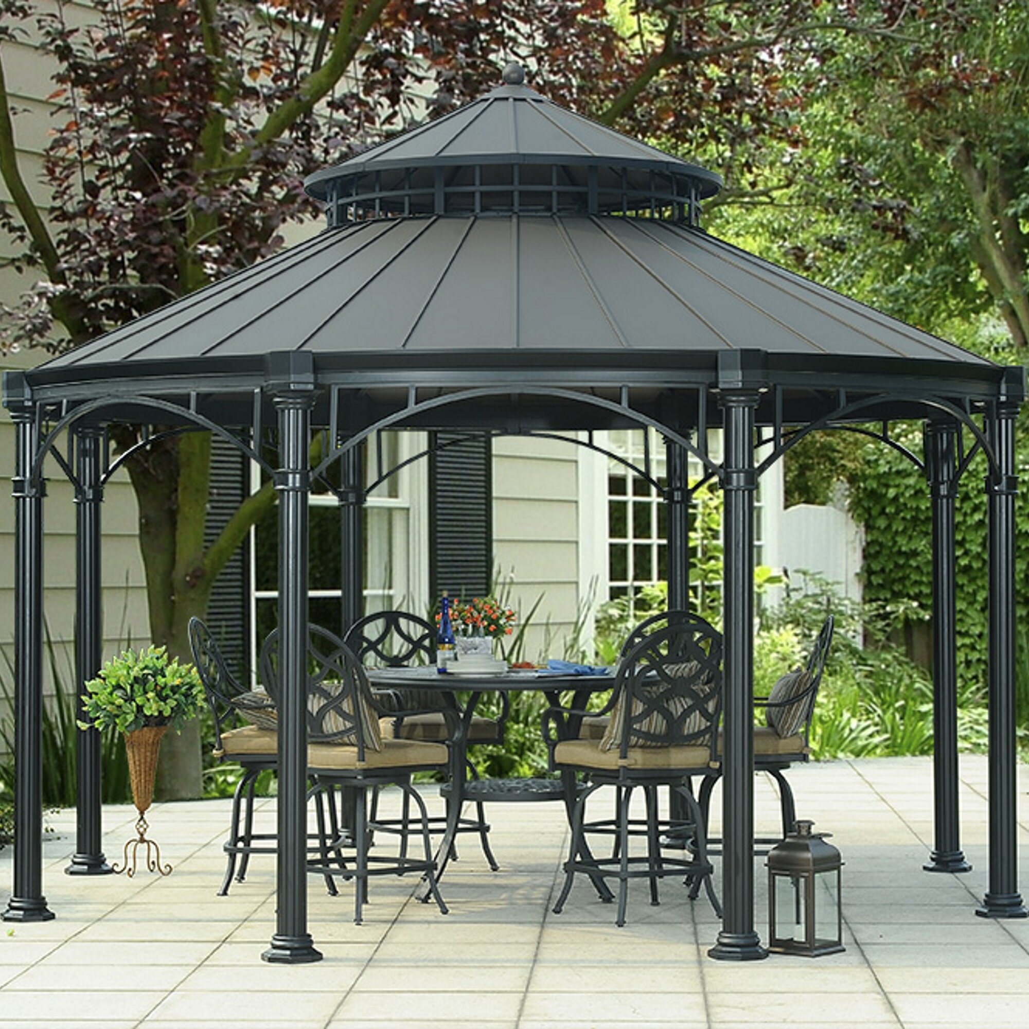 sunjoy windsor 14 ft w x 14 ft d metal permanent gazebo. Black Bedroom Furniture Sets. Home Design Ideas