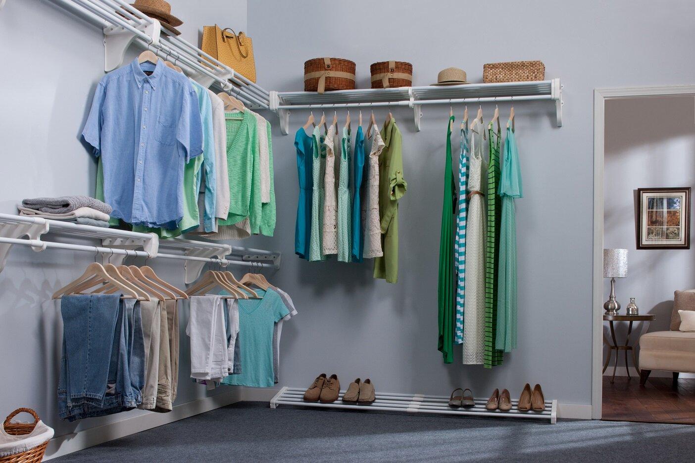 expandable walk in closet organizer 5 closet shelves rods and 4 end brackets ebay. Black Bedroom Furniture Sets. Home Design Ideas