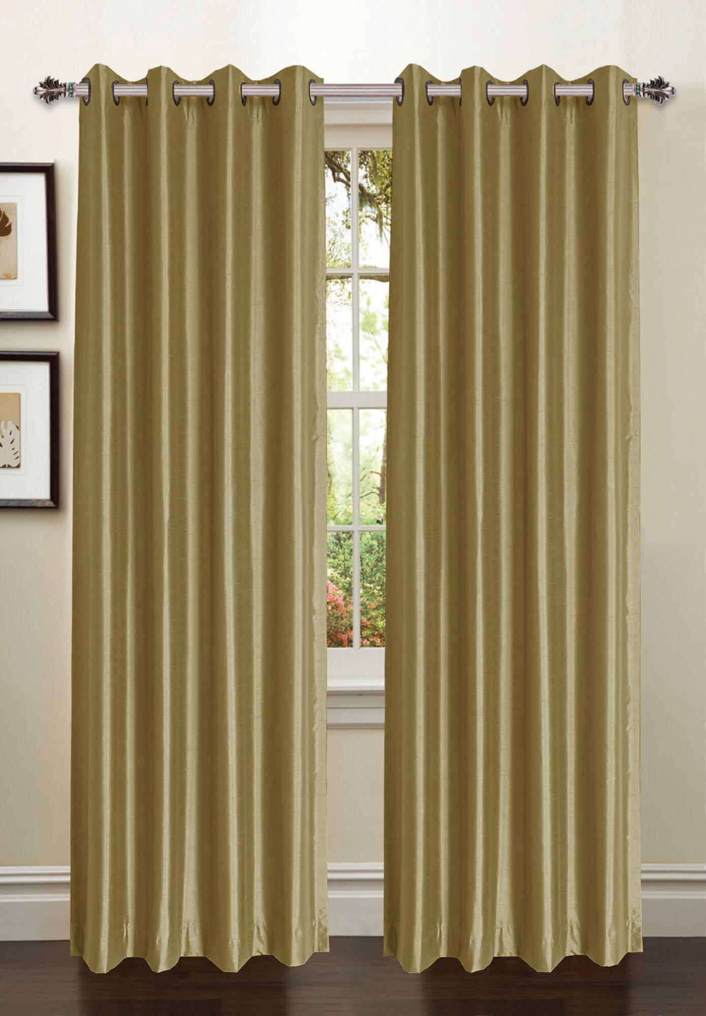 Window Elements Jane Faux Silk Grommet Curtain Panel Ebay