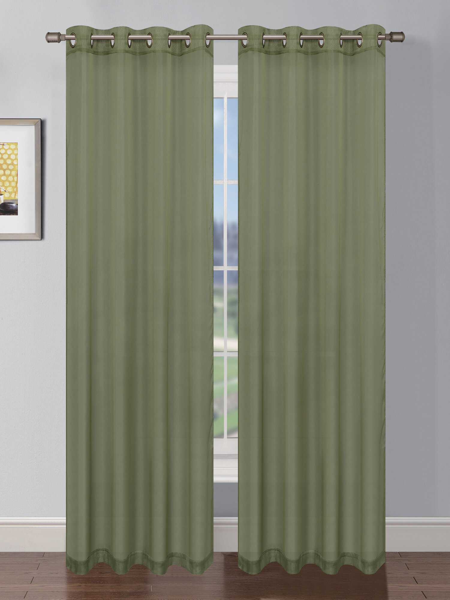 Window elements sheer elegance textured faux linen grommet for Sheer curtains texture