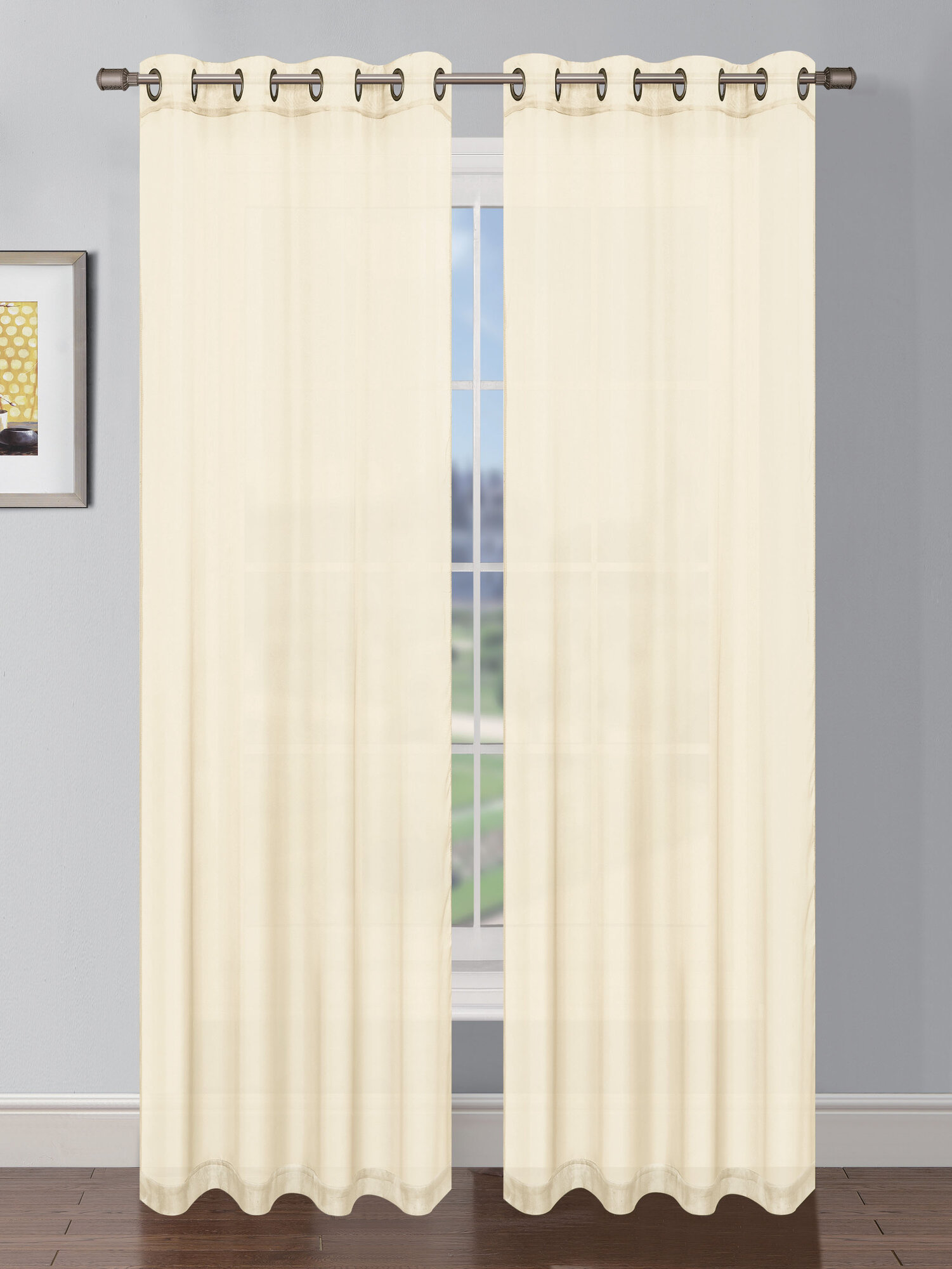 window elements sheer elegance faux linen grommet extra