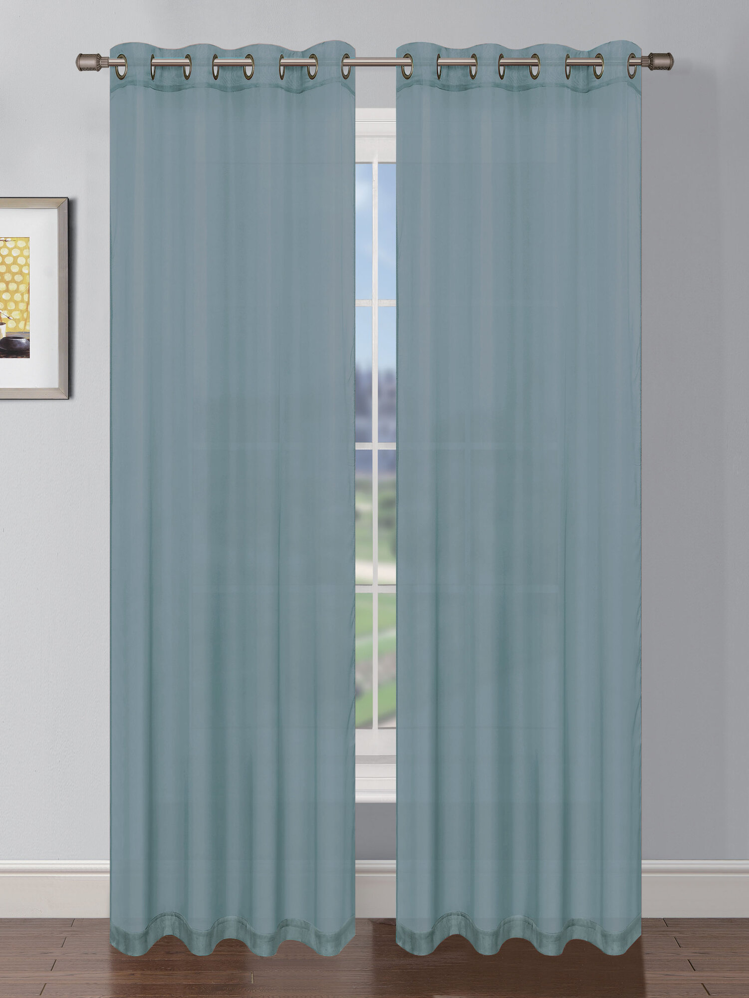 Window Elements Sheer Elegance Faux Linen Grommet Extra Wide Curtain Panels