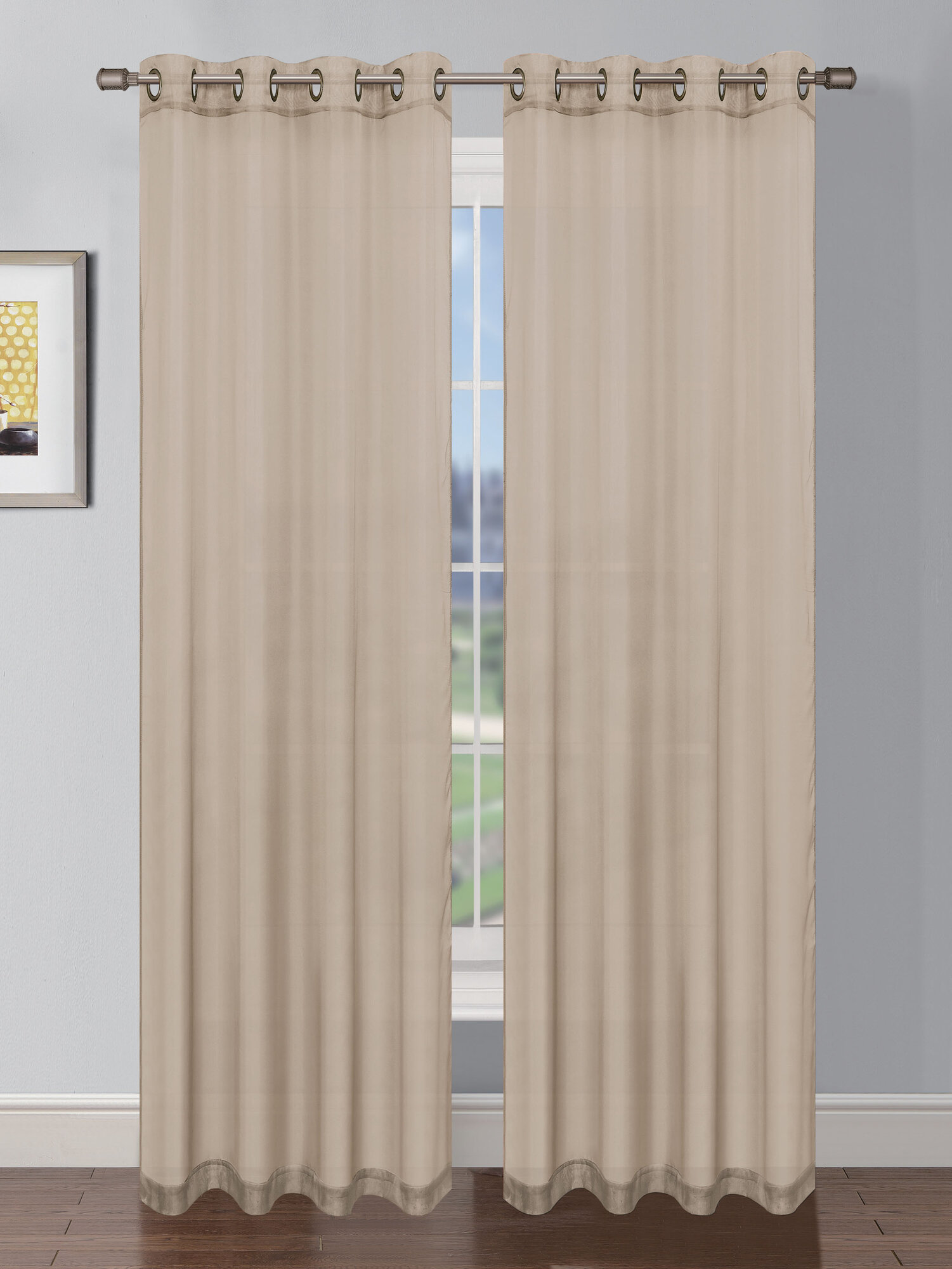 Window elements sheer elegance faux linen grommet extra for Grommet curtains