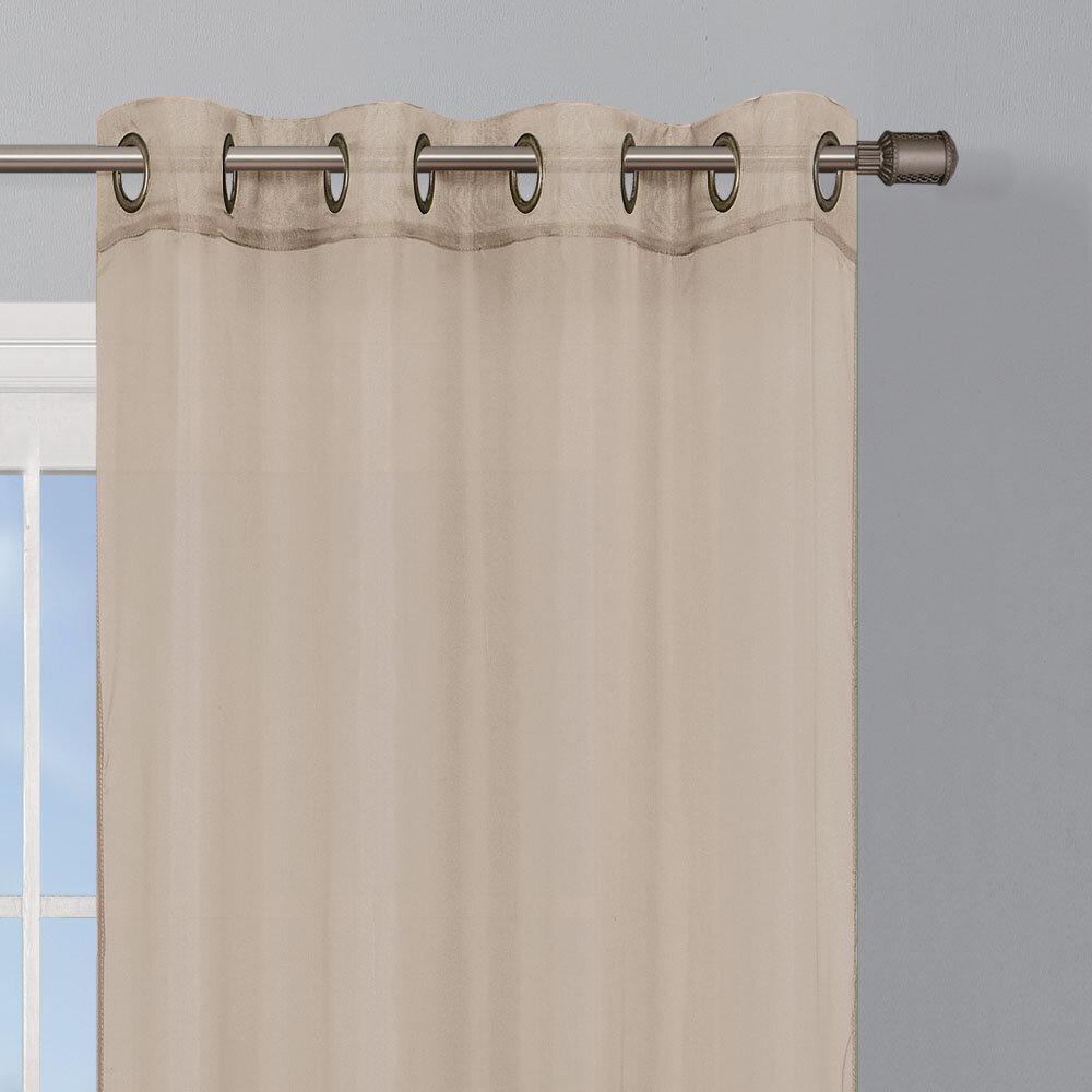 Semi Sheer Curtains For Kitchen Curtain Linen Textured: Window Elements Sheer Elegance Textured Faux Linen Grommet