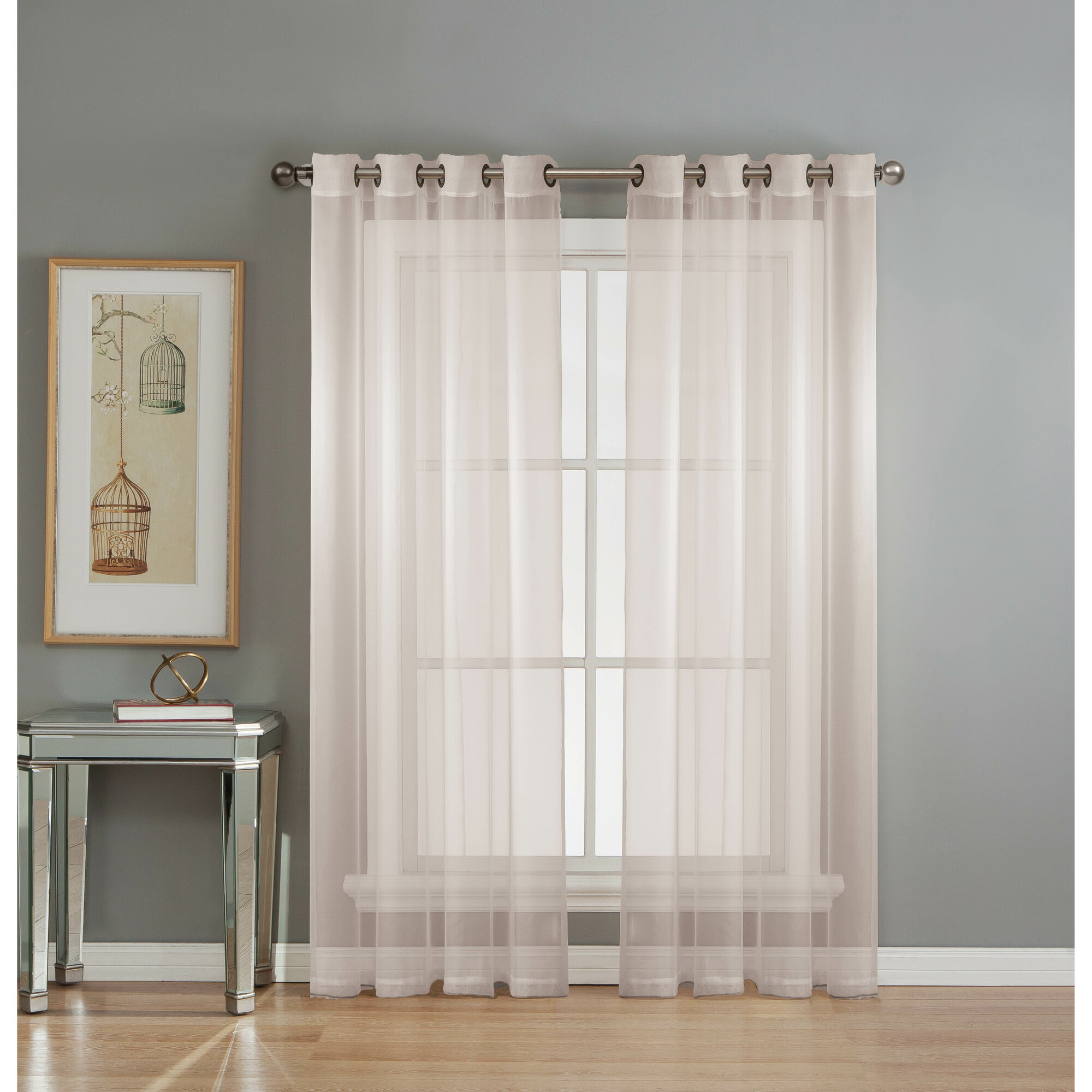 window elements diamond sheer voile extra wide grommet single curtain panel ebay. Black Bedroom Furniture Sets. Home Design Ideas