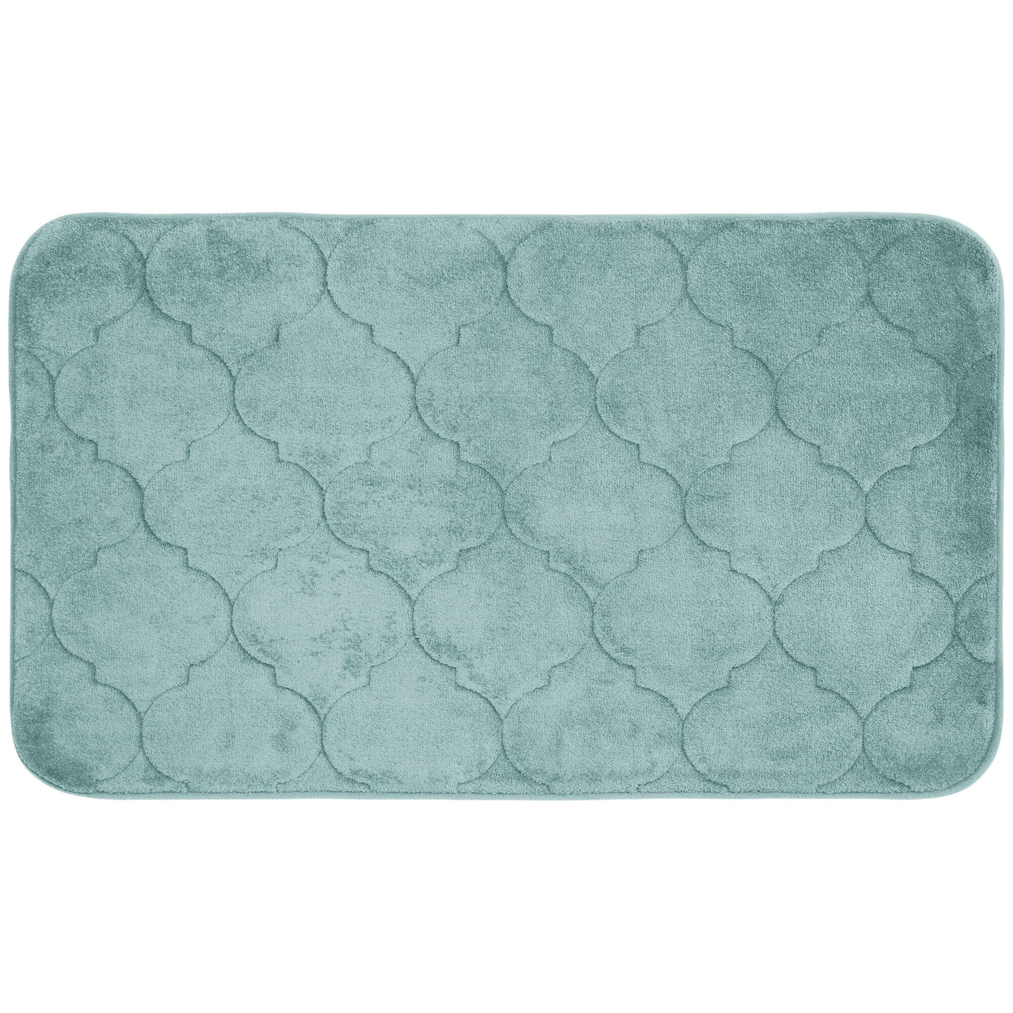 Bath Studio Faymore Micro Plush Memory Foam Bath Mat Color: Aqua, Size: 24