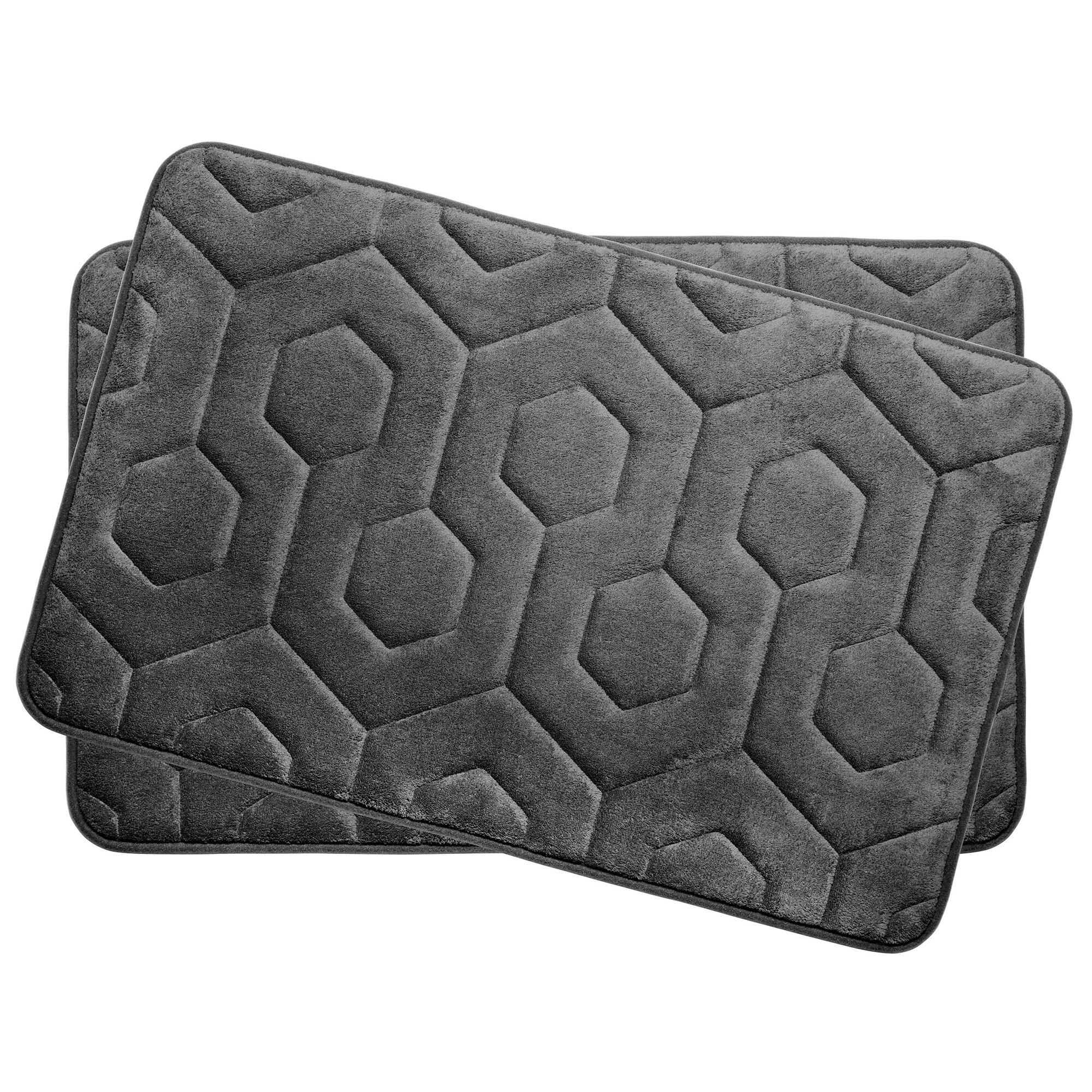Bath Studio Hexagon Small Plush Memory Foam Bath Mat Color: Dark Grey