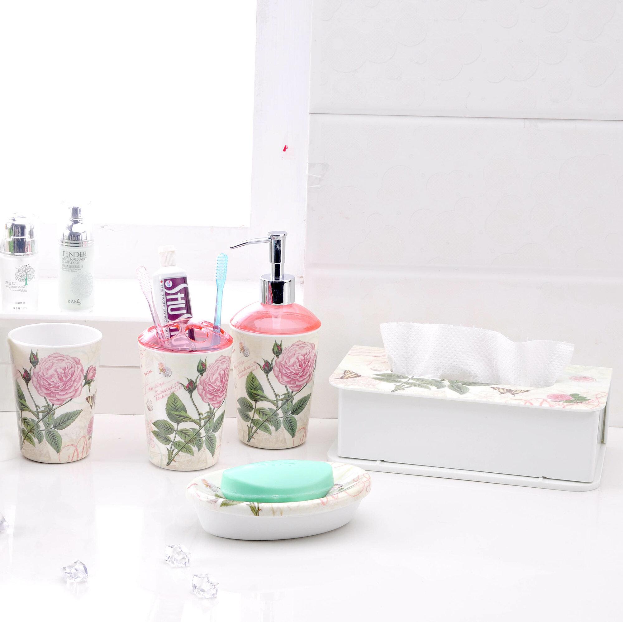 Shall housewares international 5 piece bathroom accessory for Bathroom 5 piece set
