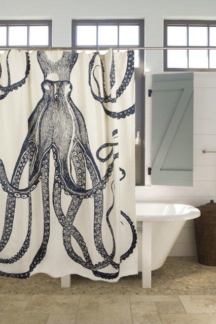 Thomas Paul Bath Cotton Octopus Shower Curtain