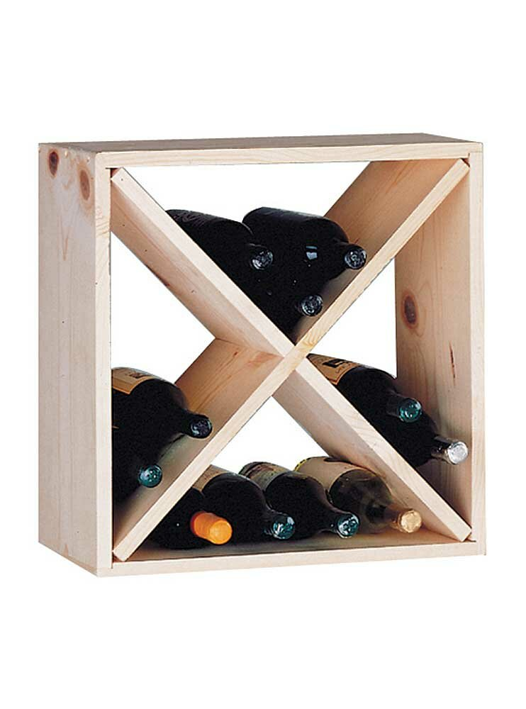 Wine cellar innovations country pine cube 24 bottle floor for Floor wine rack