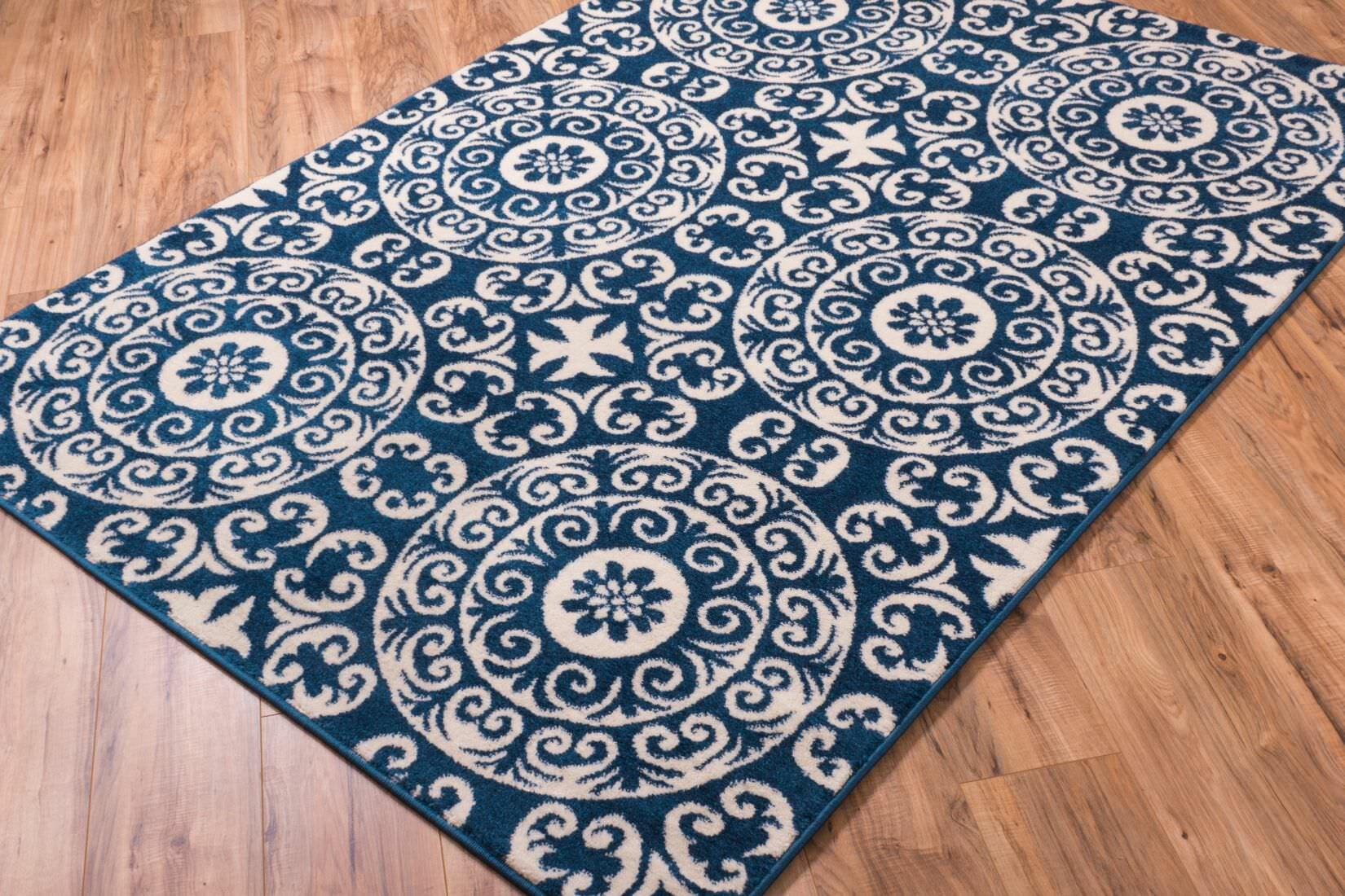 well woven sydney petra palatial navy blue white area rug ebay. Black Bedroom Furniture Sets. Home Design Ideas