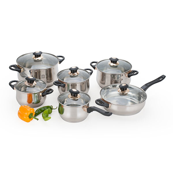 Alpine cuisine 12 piece jumbo stainless steel cookware set for Alpine cuisine flatware