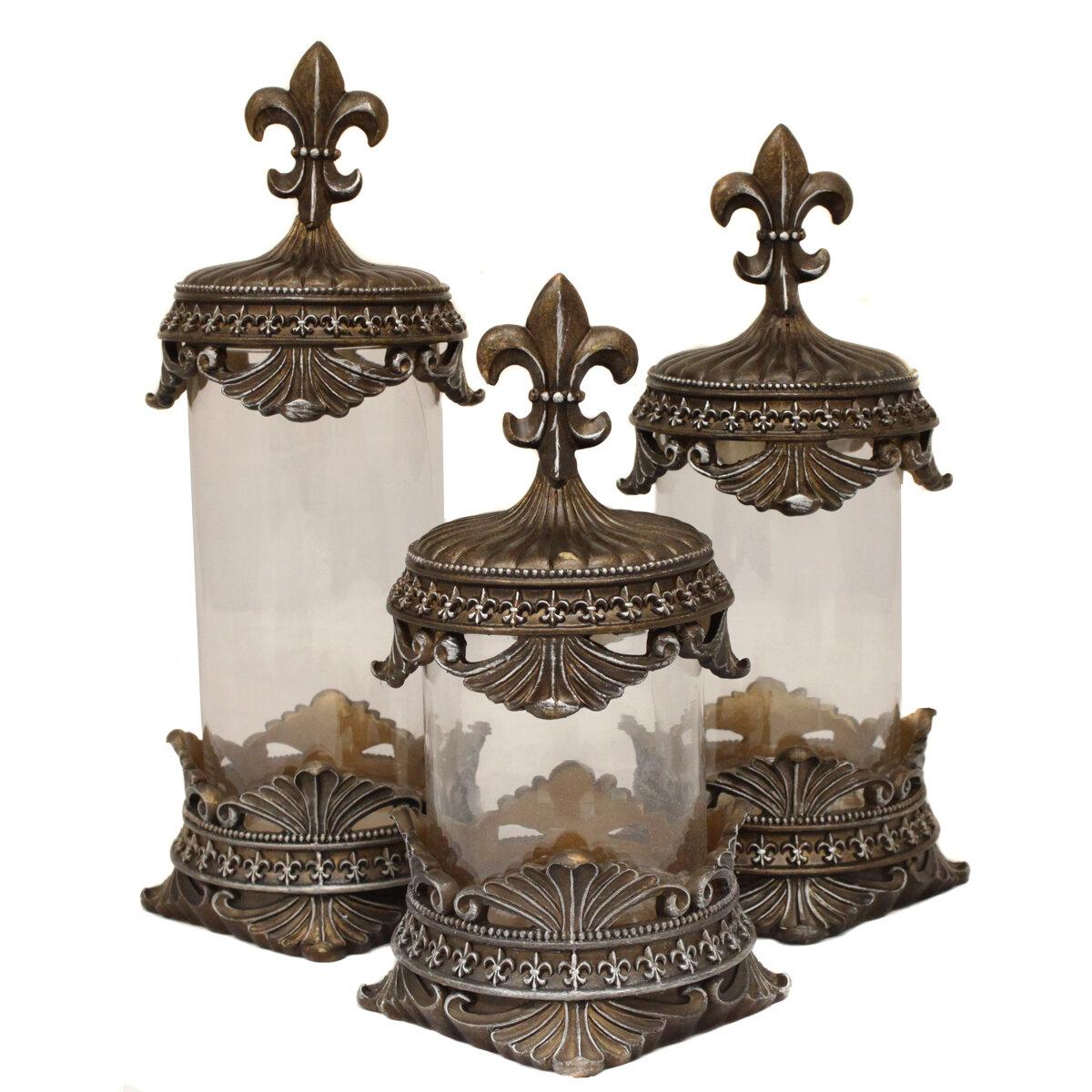 Urban designs 3 piece baroque fleur de lis decorative canister set ebay - Fleur de lis canisters ...