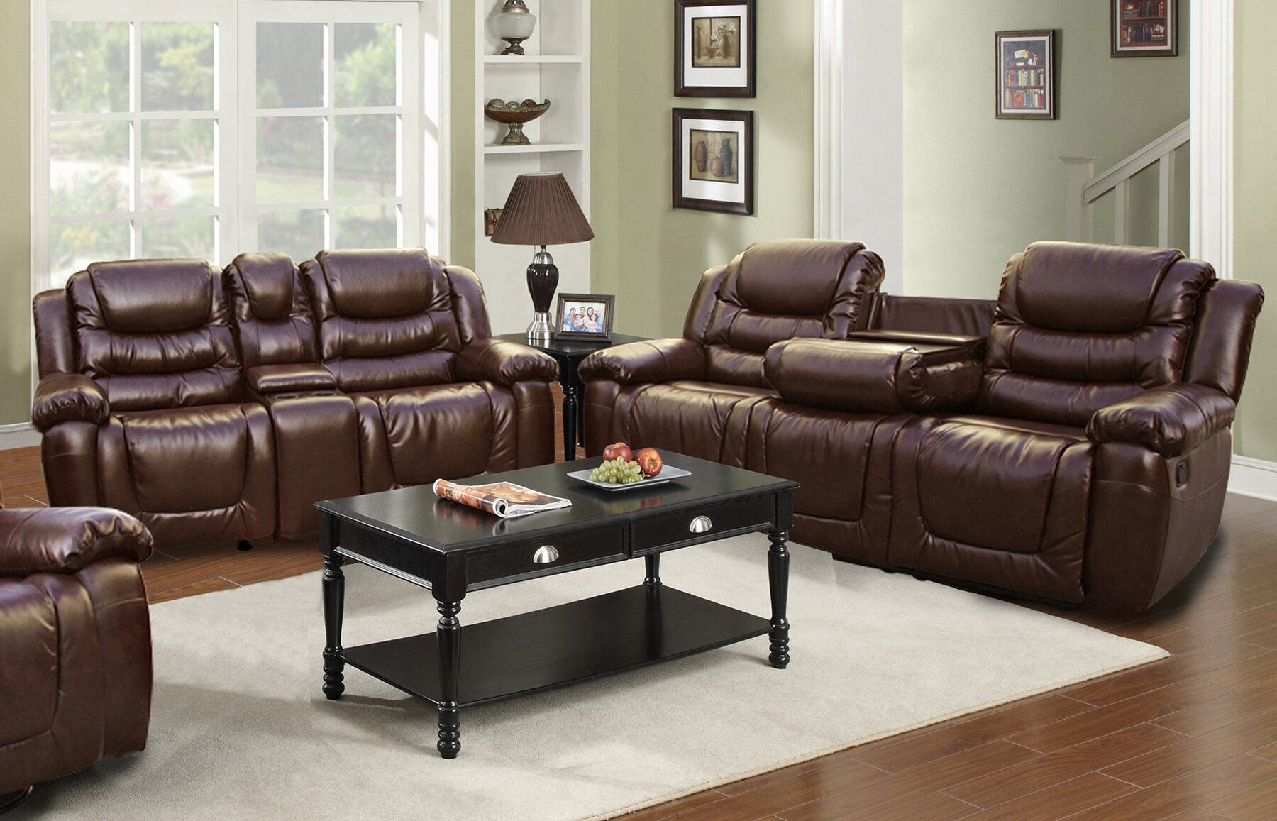 Ottawa 2 piece bonded leather reclining living room sofa for 8 piece living room furniture set