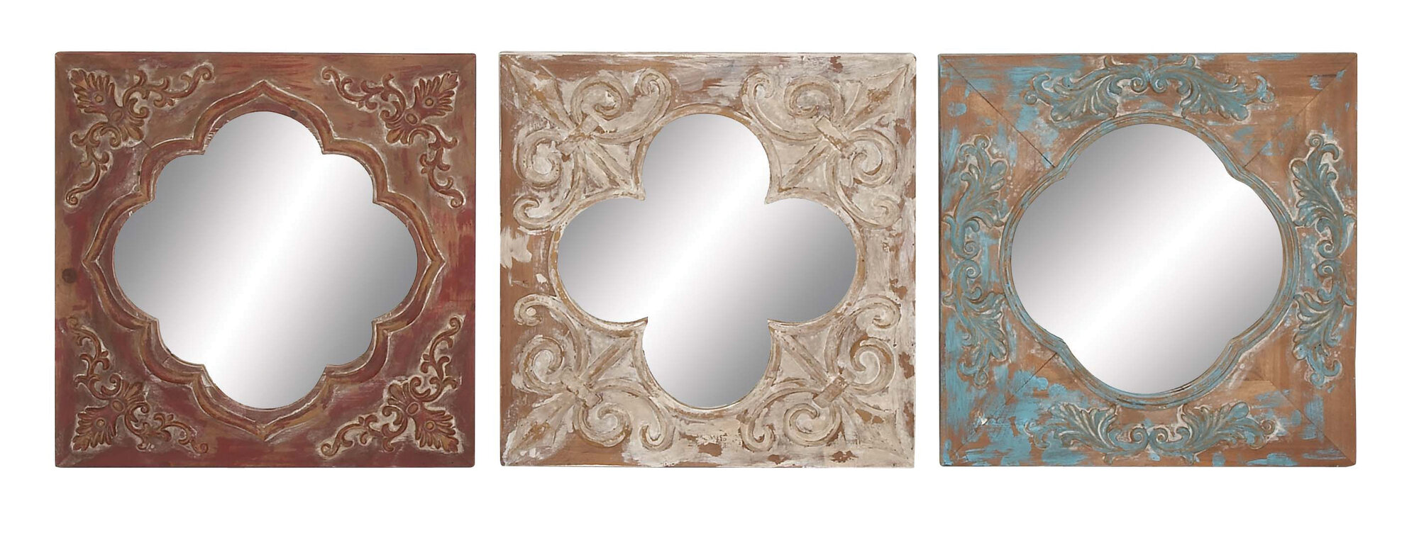 Cole & Grey 3 Piece Metal, Wood And Mirror Wall Decor Set