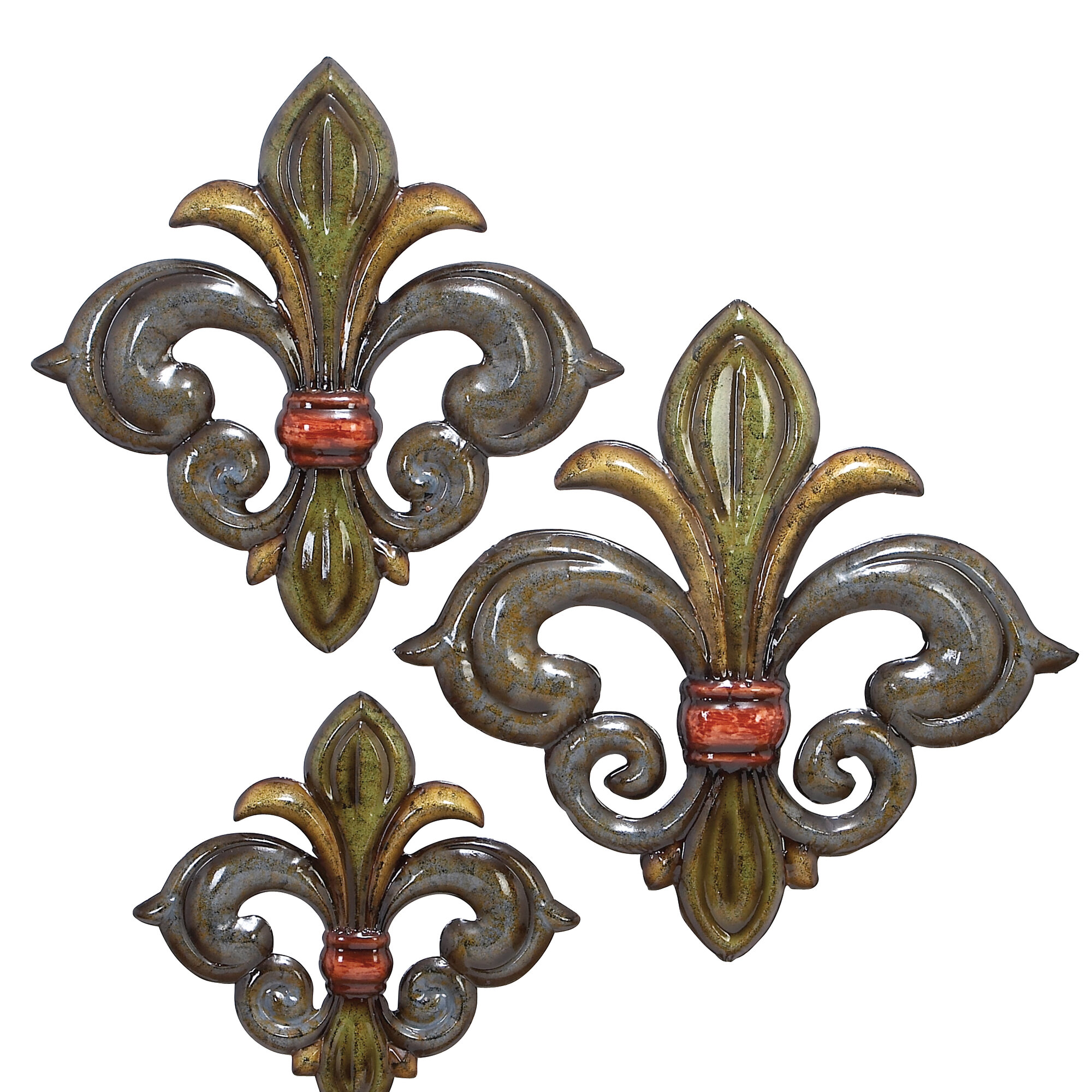 Cole Grey 3 Piece Metal Fleur De Lis Wall Decor Set Ebay