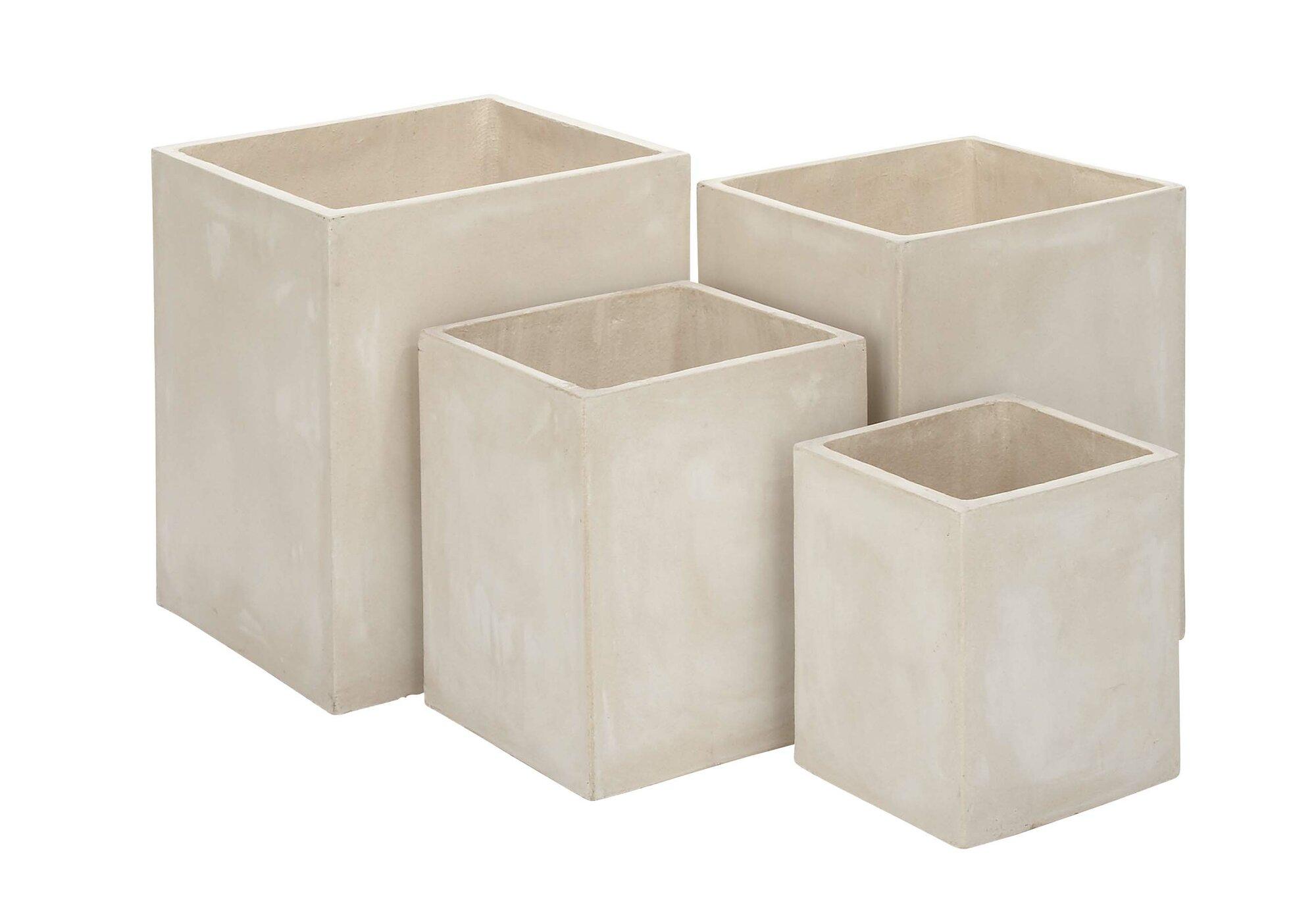 Cole grey 4 piece fiberclay planter box set for Decor containers coles